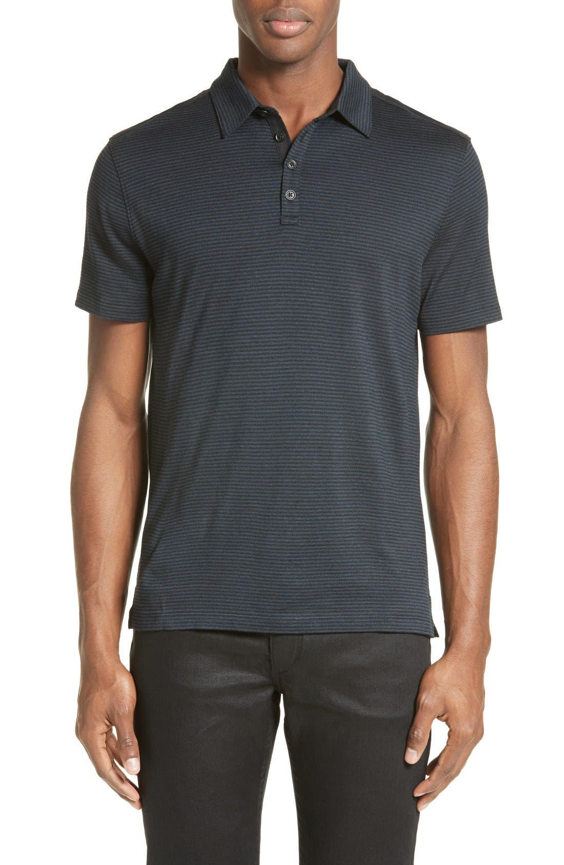 John Varvatos Collection 'Hampton' Stripe Silk & Cotton Polo