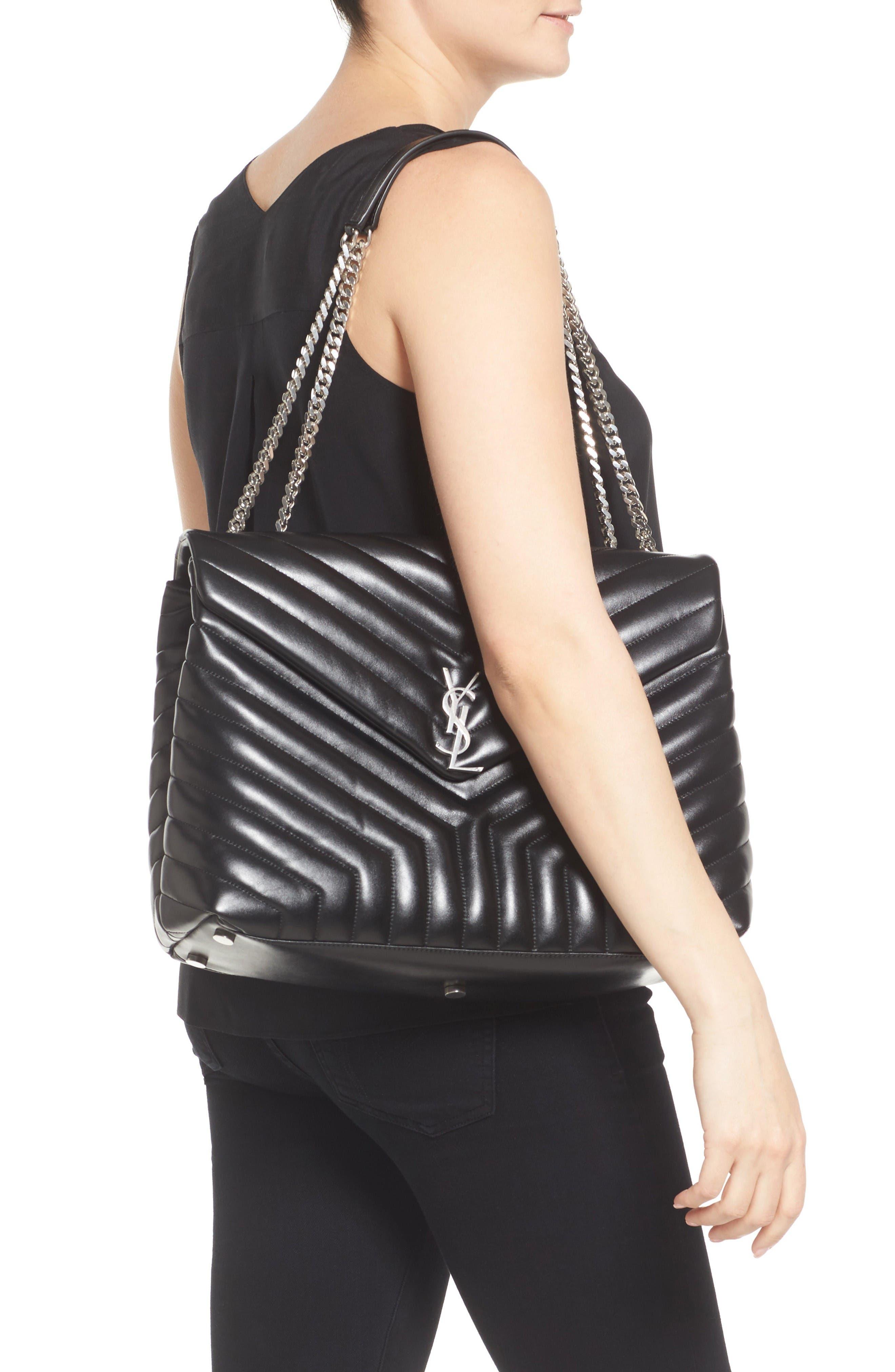 Alternate Image 2  - Saint Laurent Monogram Quilted Leather Slouchy Shoulder Bag