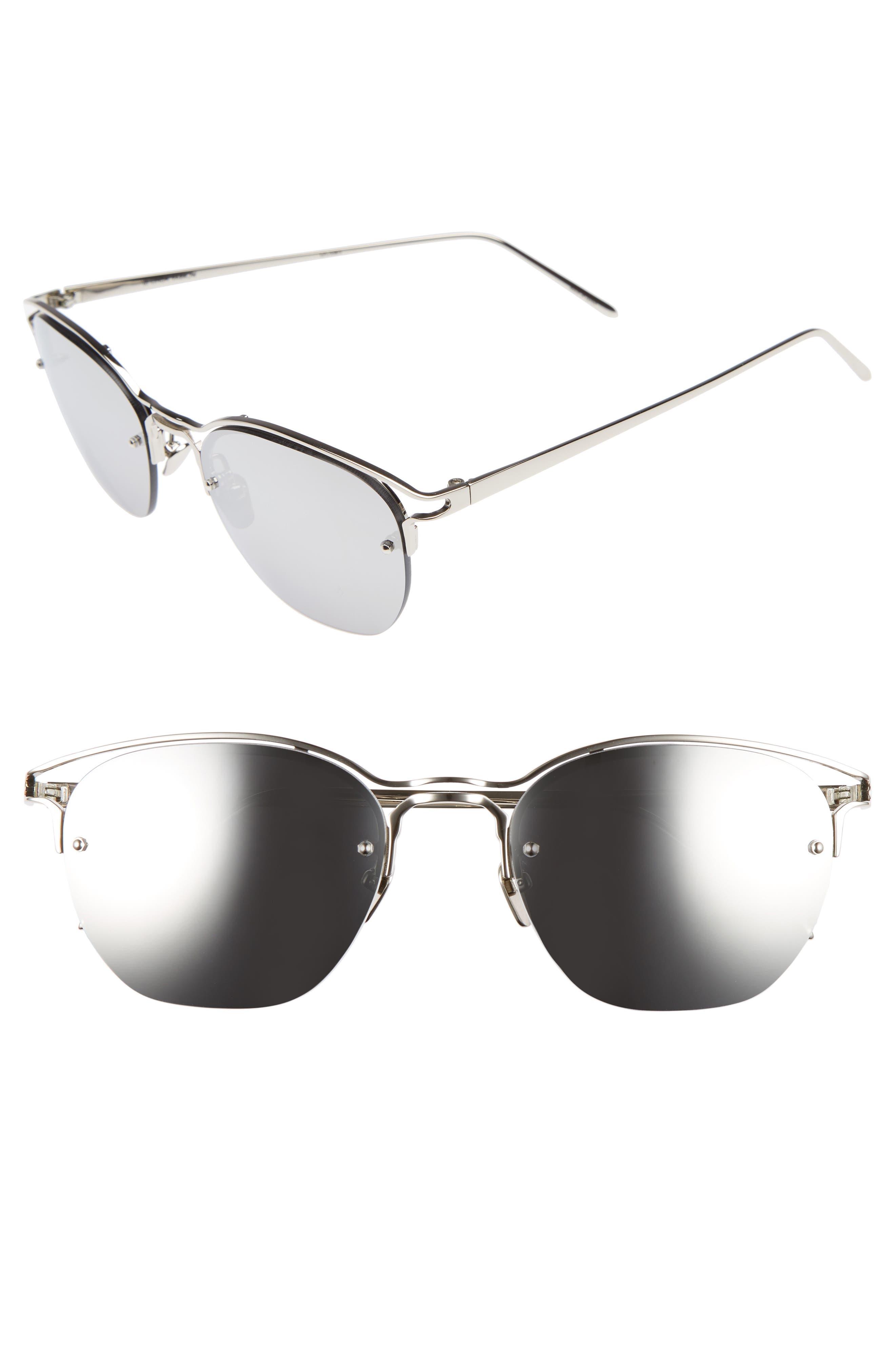 55mm Round Sunglasses,                         Main,                         color, White Gold/ Platinum