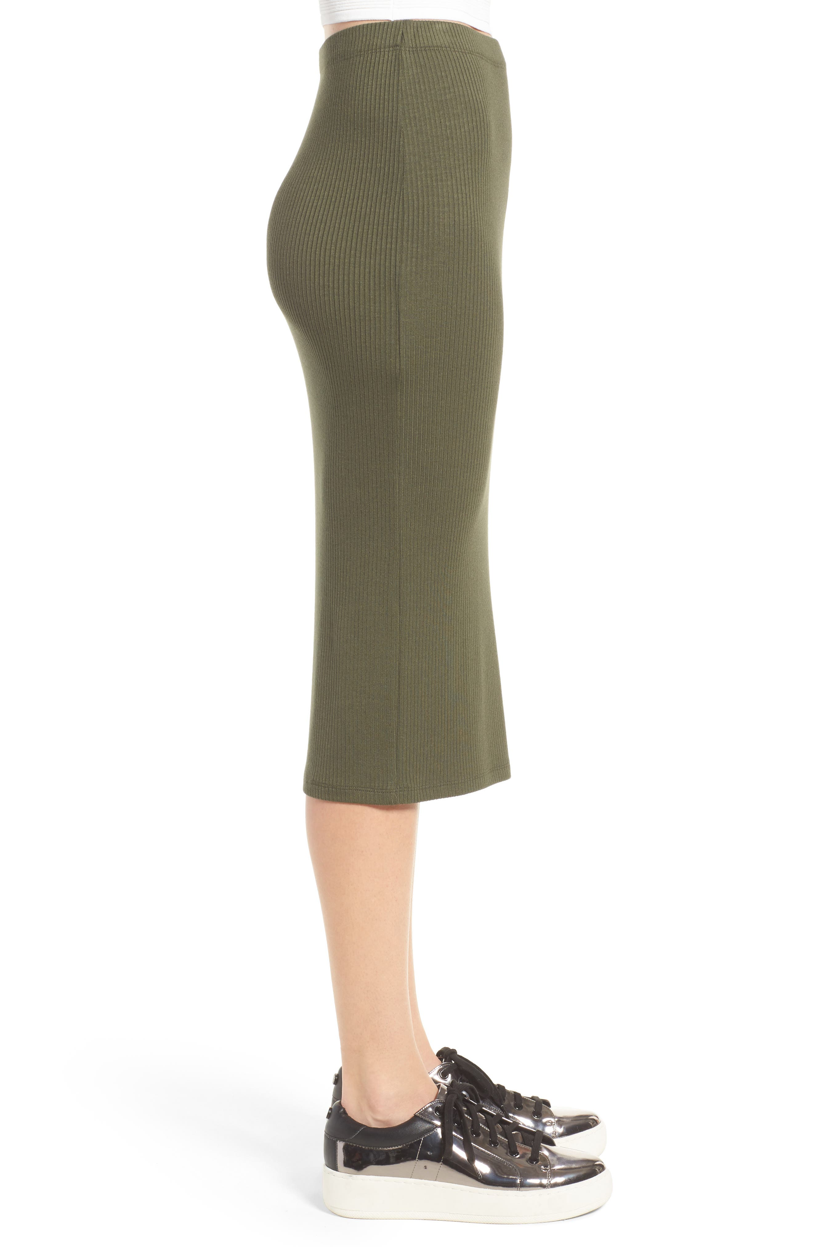 Rib Midi Skirt,                             Alternate thumbnail 4, color,                             Olive Sarma