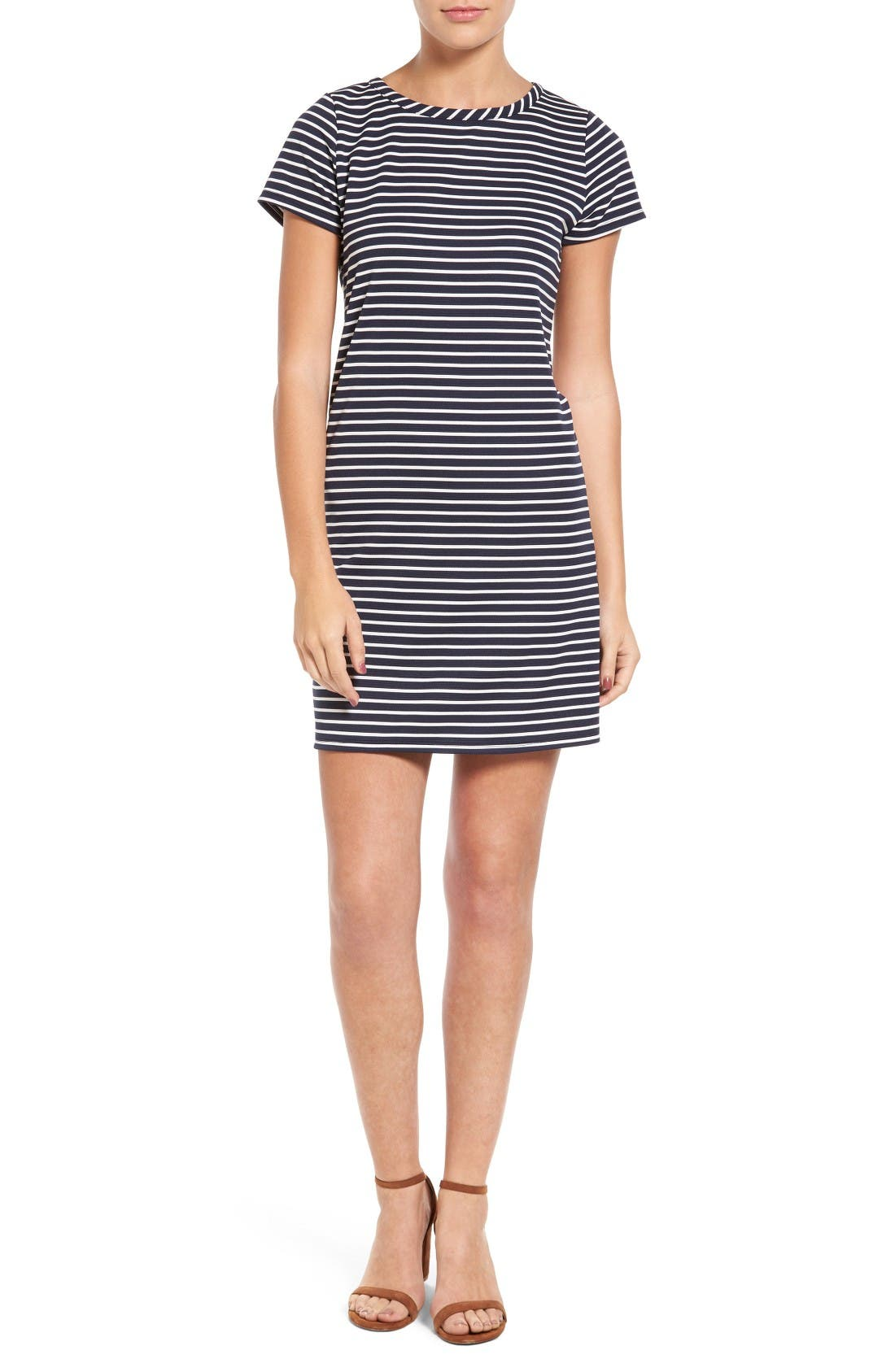 Alternate Image 1 Selected - Loveappella Stripe Ottoman Shift Dress (Petite)