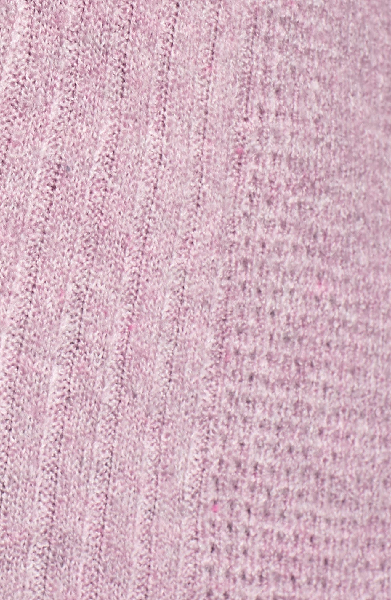Mixed Stitch V-Neck Tunic Sweater,                             Alternate thumbnail 5, color,                             Heather Purple Morn