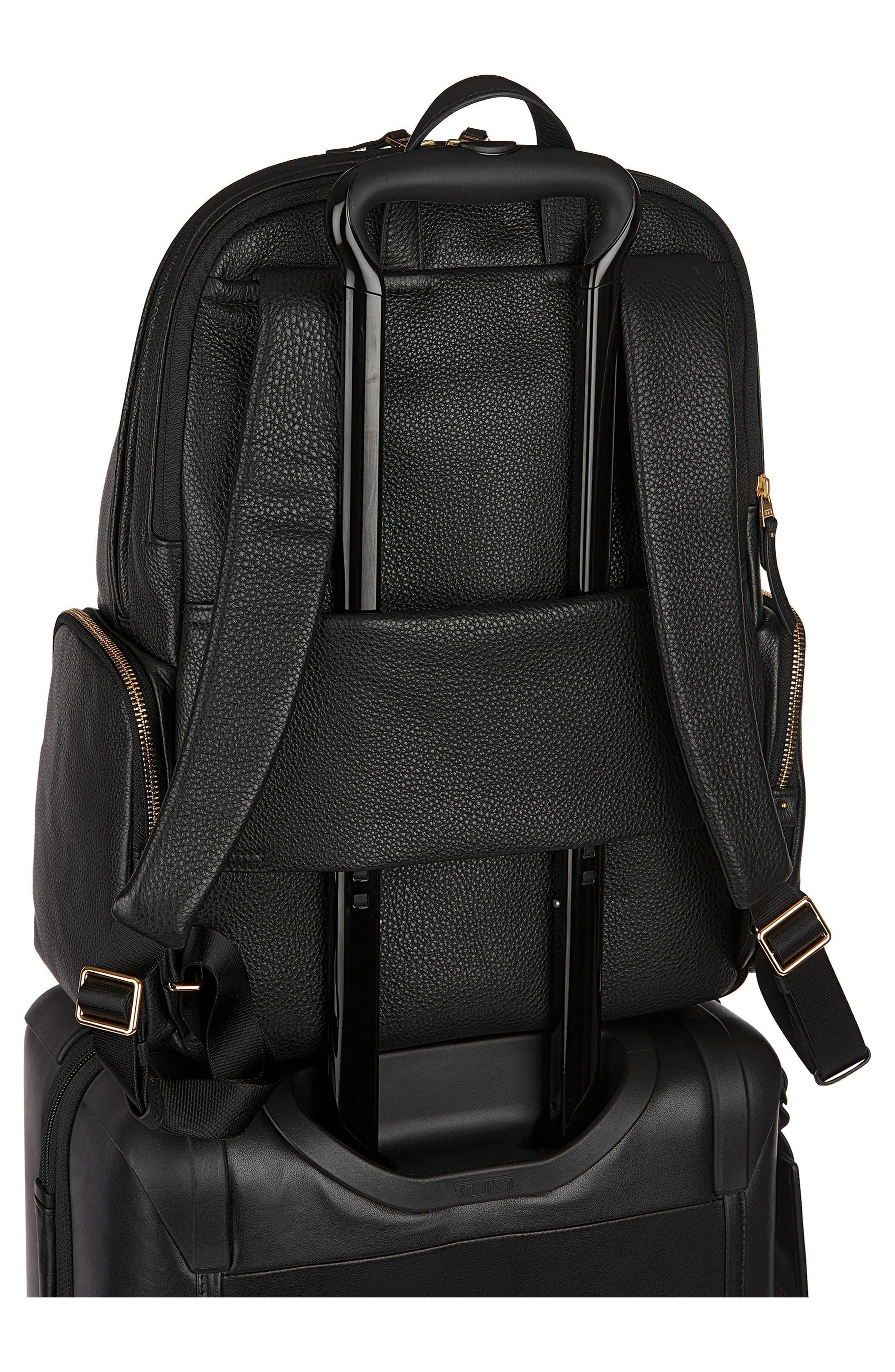 Calais Leather Computer Backpack,                             Alternate thumbnail 3, color,                             Black