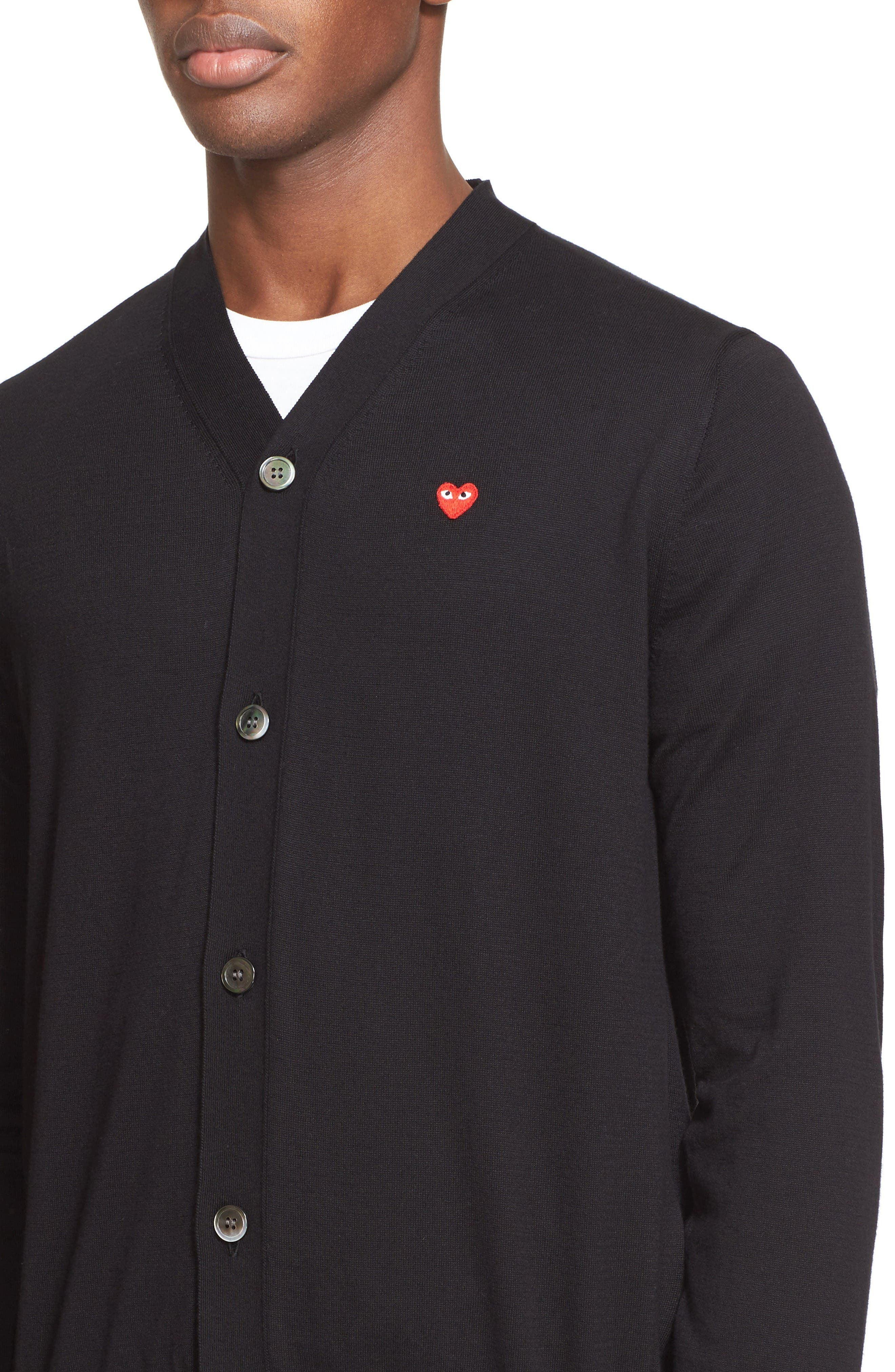 Comme des Garçons PLAY Heart Logo Cardigan,                             Alternate thumbnail 4, color,                             Black
