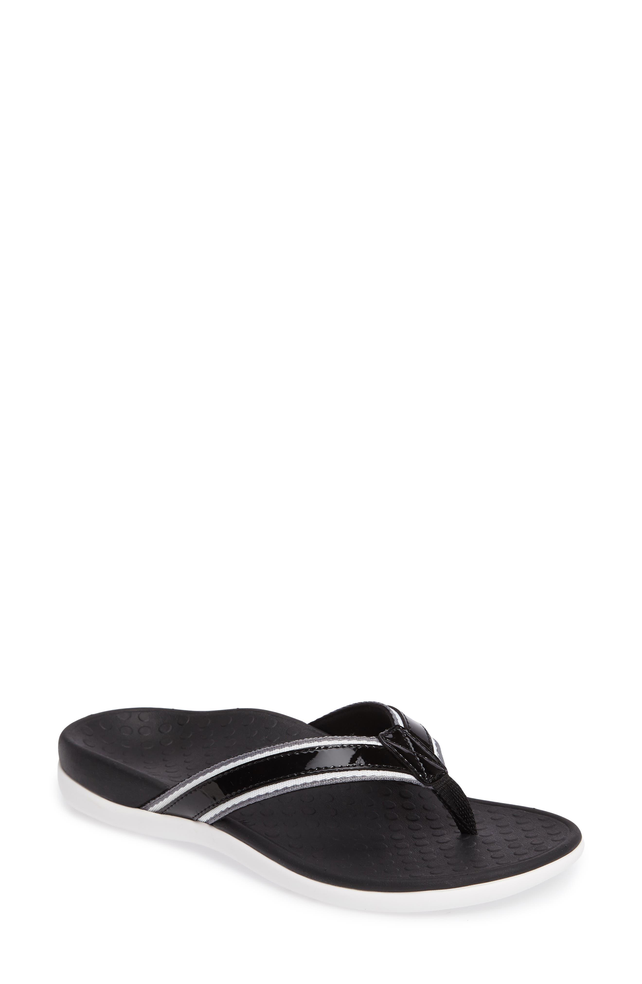 Tide Sport Flip Flop,                         Main,                         color, Black Leather