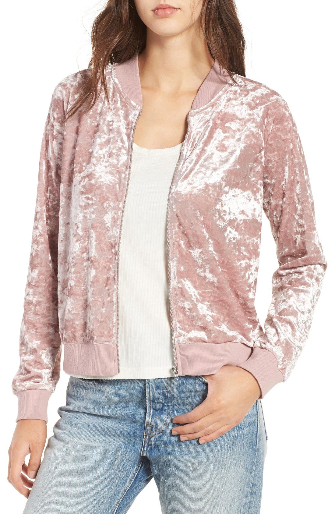 Alternate Image 1 Selected - Love, Fire Velvet Bomber Jacket