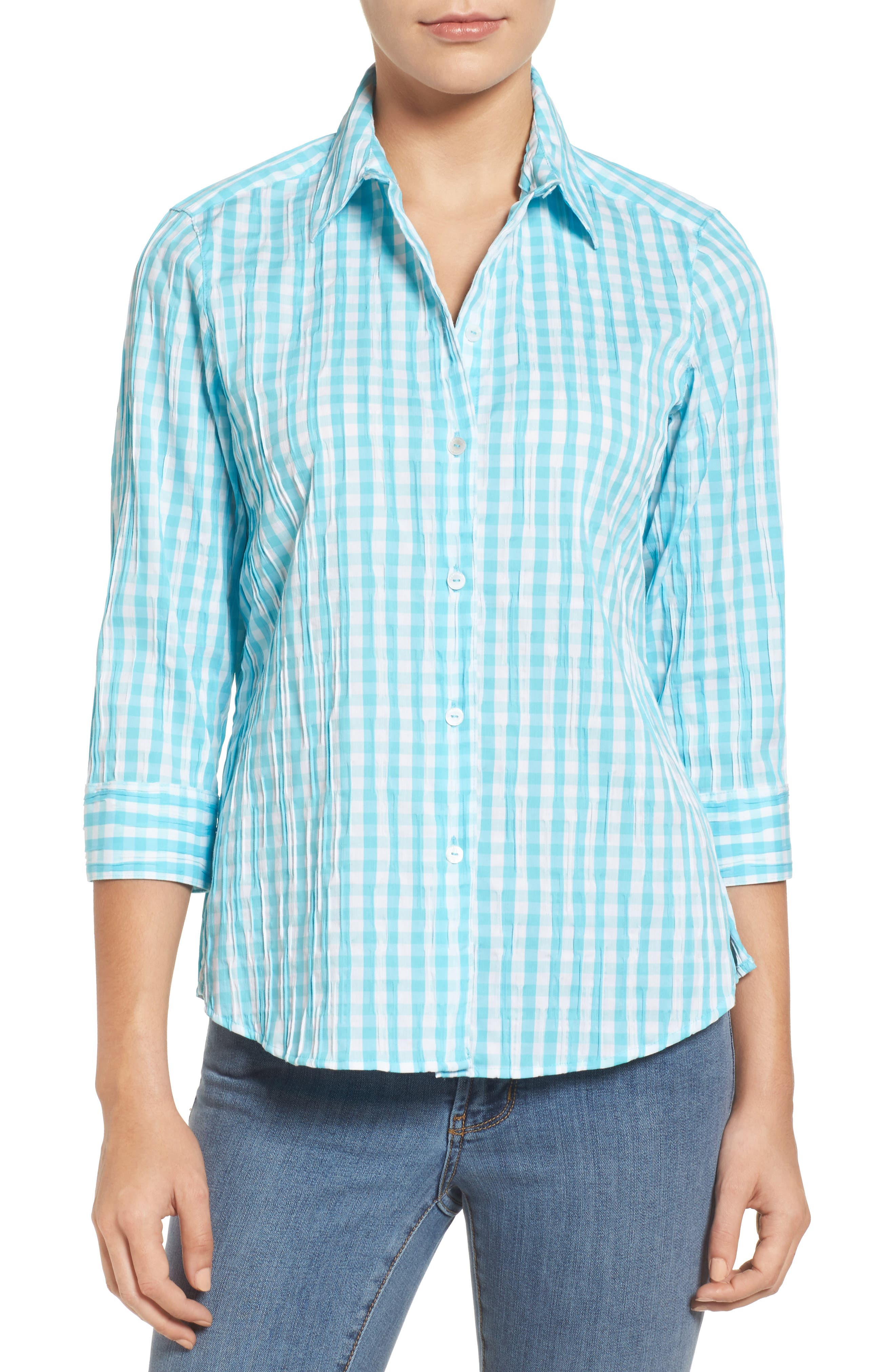 Alternate Image 1 Selected - Foxcroft Crinkled Gingham Shirt (Regular & Petite)