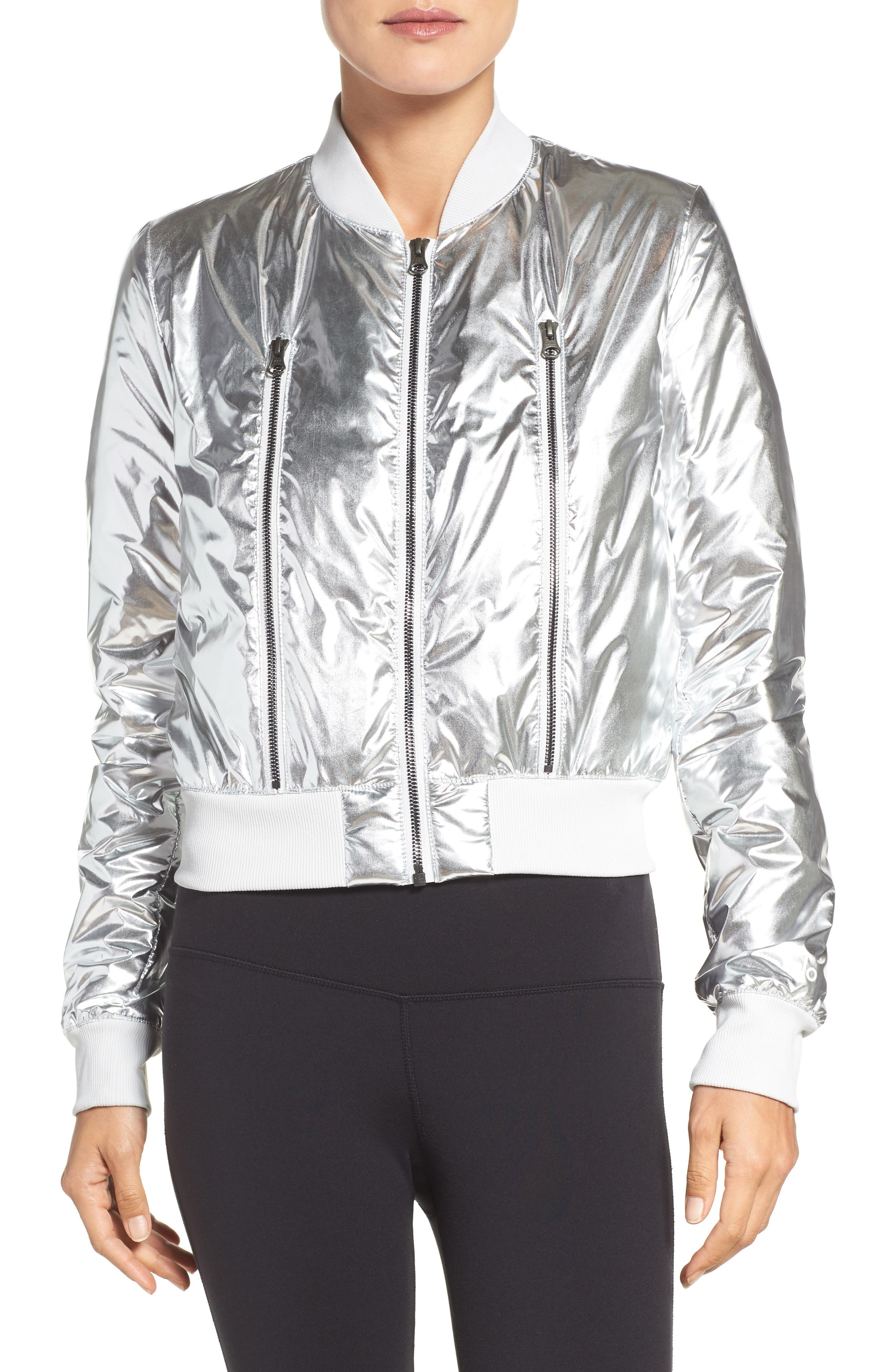 Off-Duty Bomber Jacket,                         Main,                         color, Silver Mist