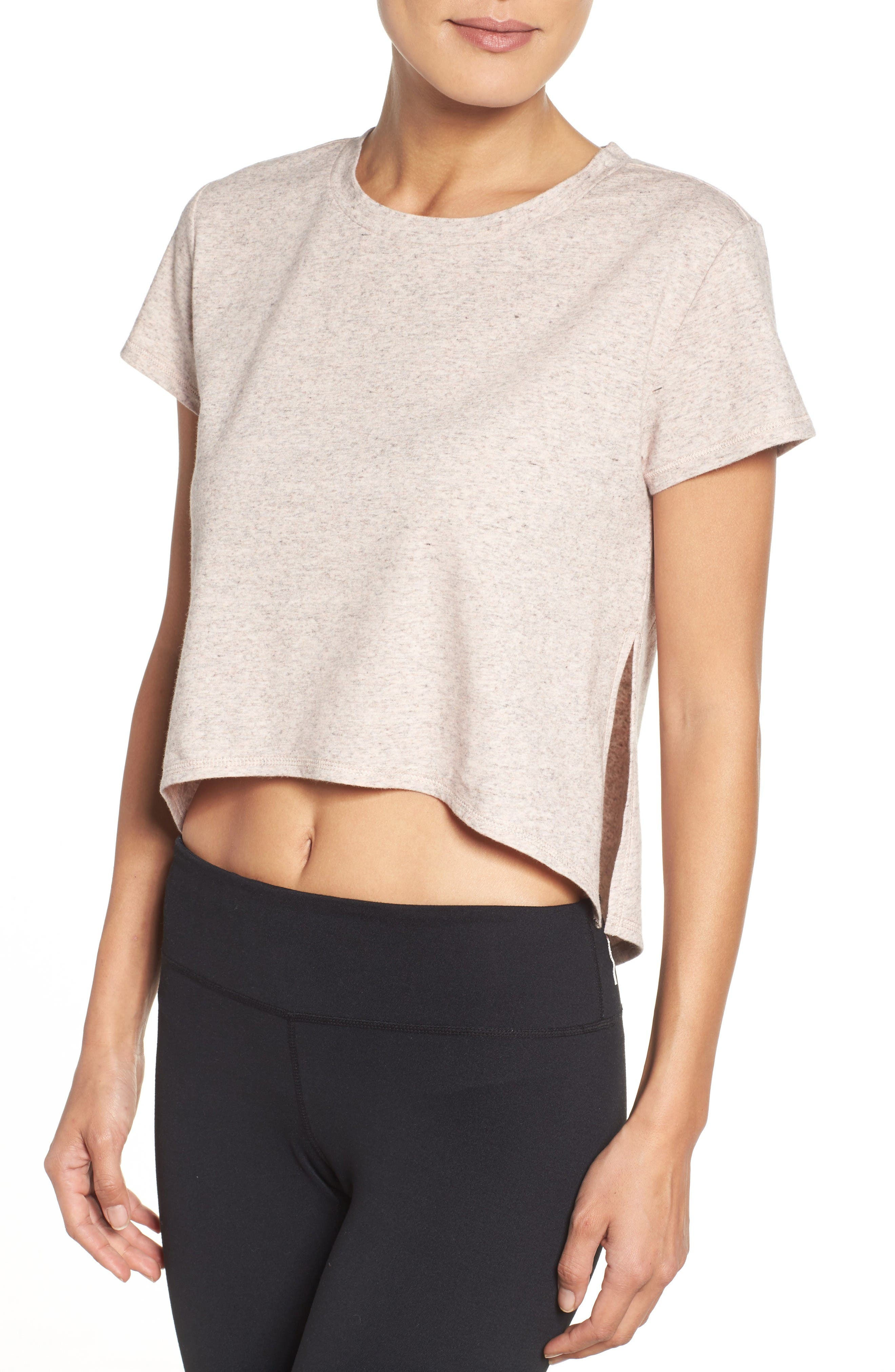 Devin Crop Tee,                             Alternate thumbnail 4, color,                             Coral Sunlight Heather