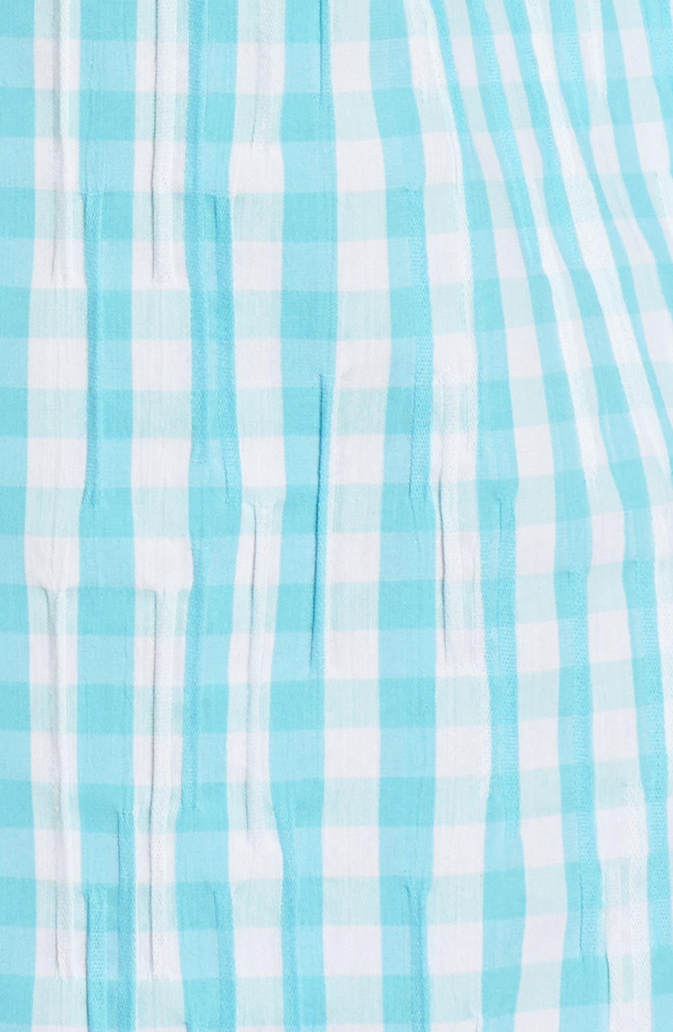 Alternate Image 5  - Foxcroft Crinkled Gingham Shirt (Regular & Petite)