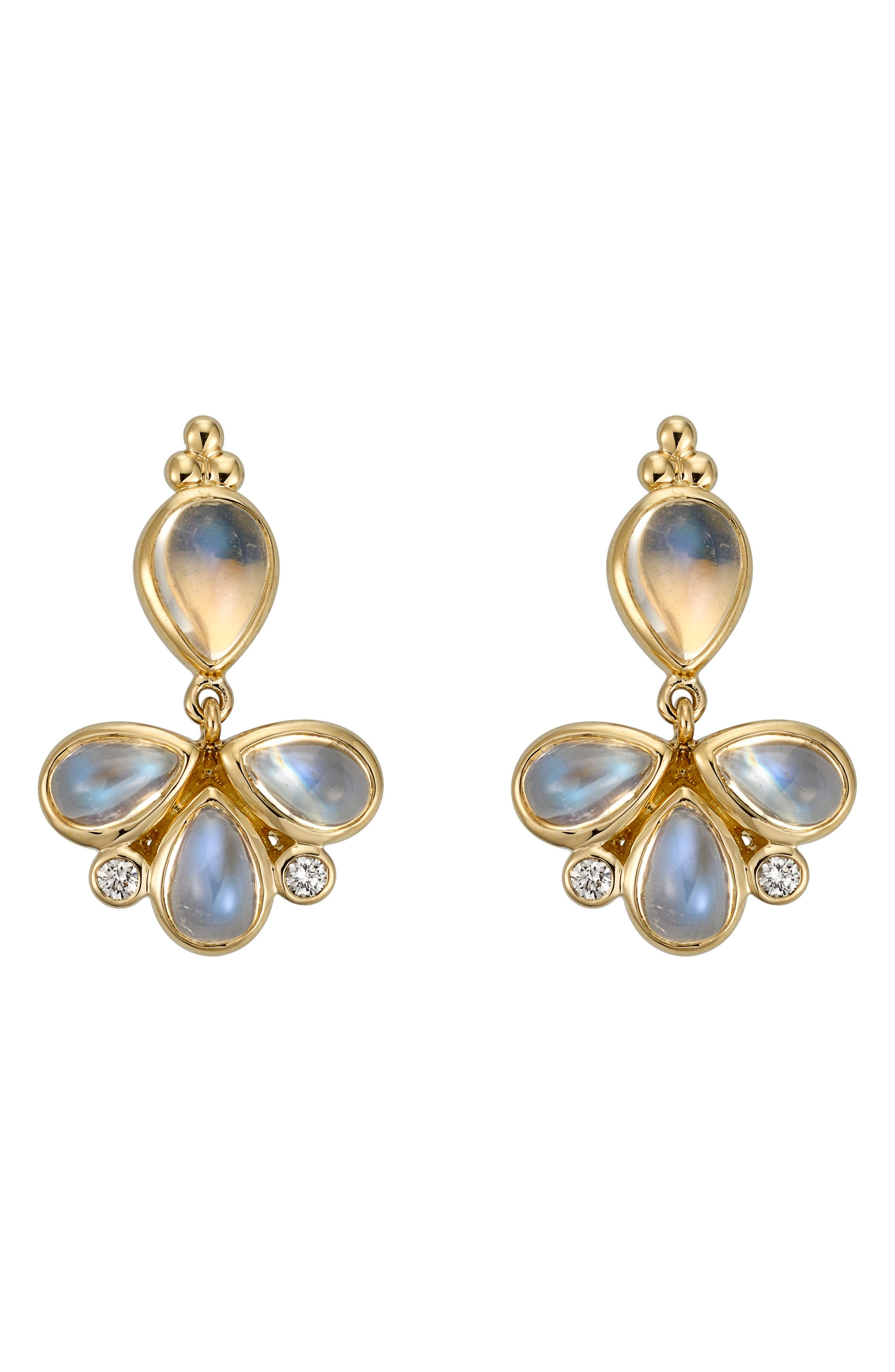 Alternate Image 1 Selected - Temple St. Clair Royal Blue Moonstone & Diamond Drop Earrings