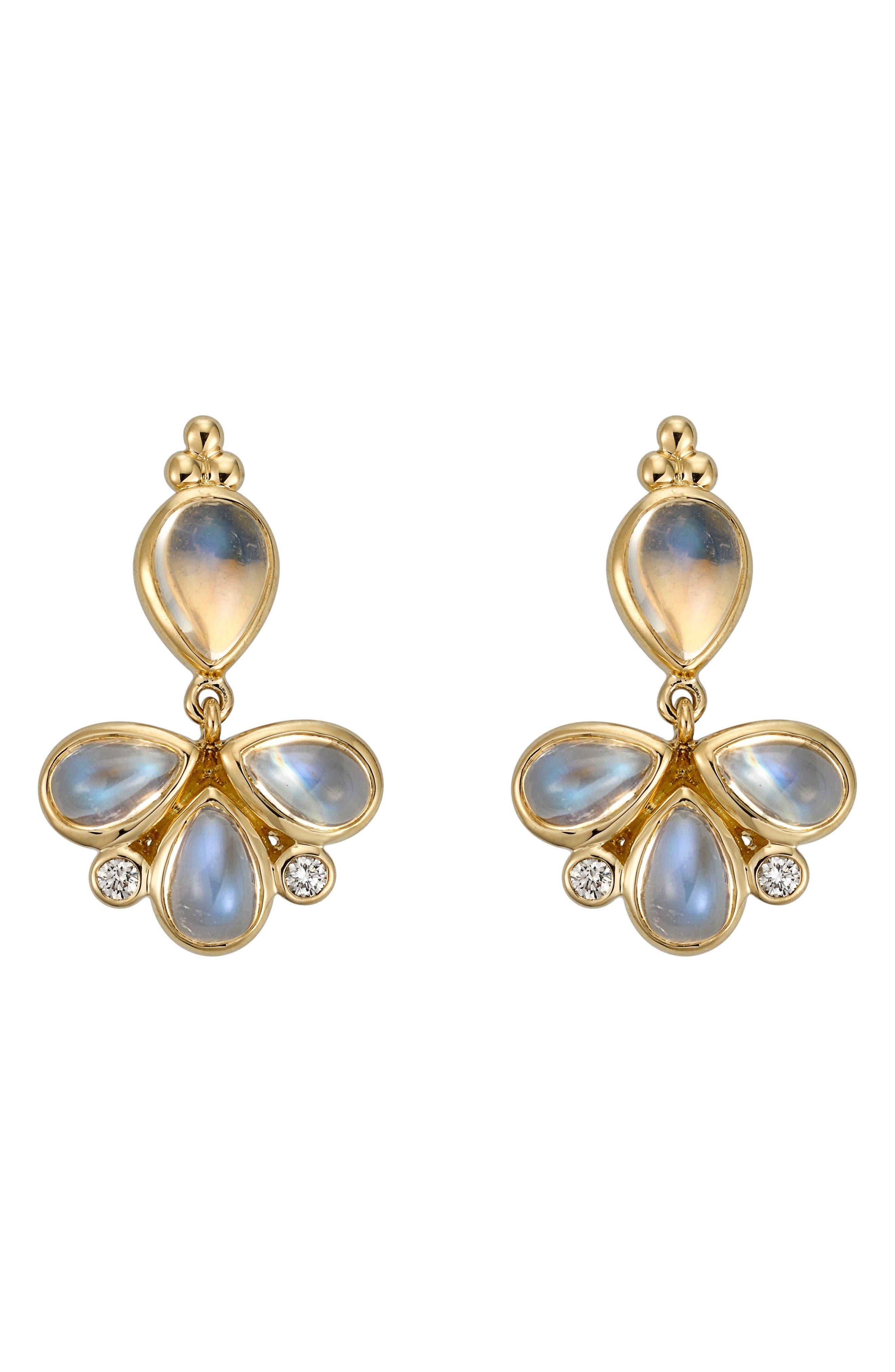Temple St. Clair Royal Blue Moonstone & Diamond Drop Earrings,                         Main,                         color, Yellow Gold/ Blue Moonstone