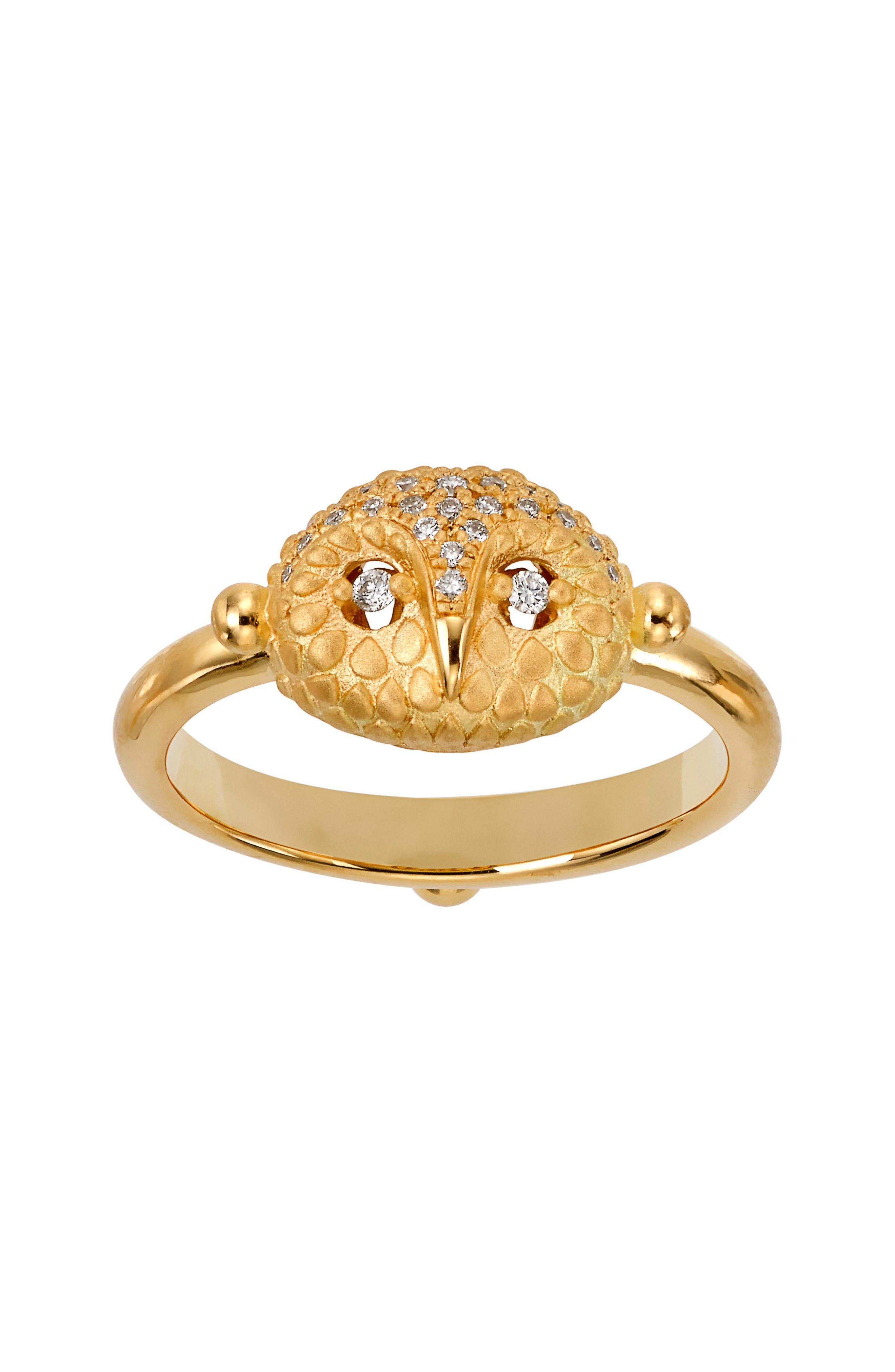 Temple St. Clair Diamond Owl Ring,                         Main,                         color, Yellow Gold