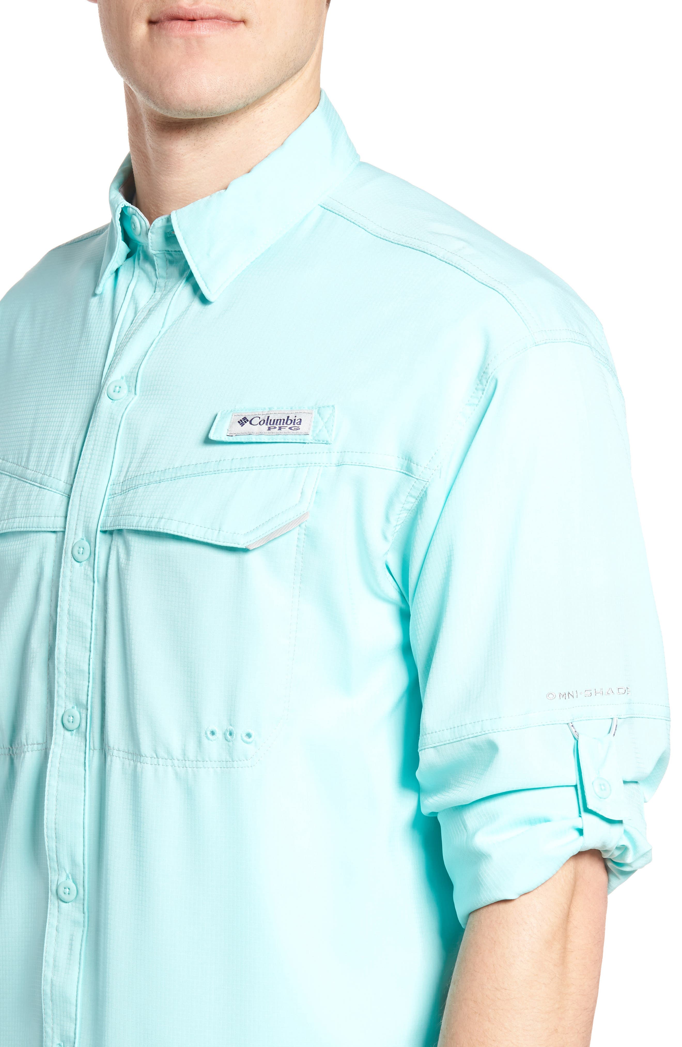 Low Drag Offshore Woven Shirt,                             Alternate thumbnail 4, color,                             Gulf Stream