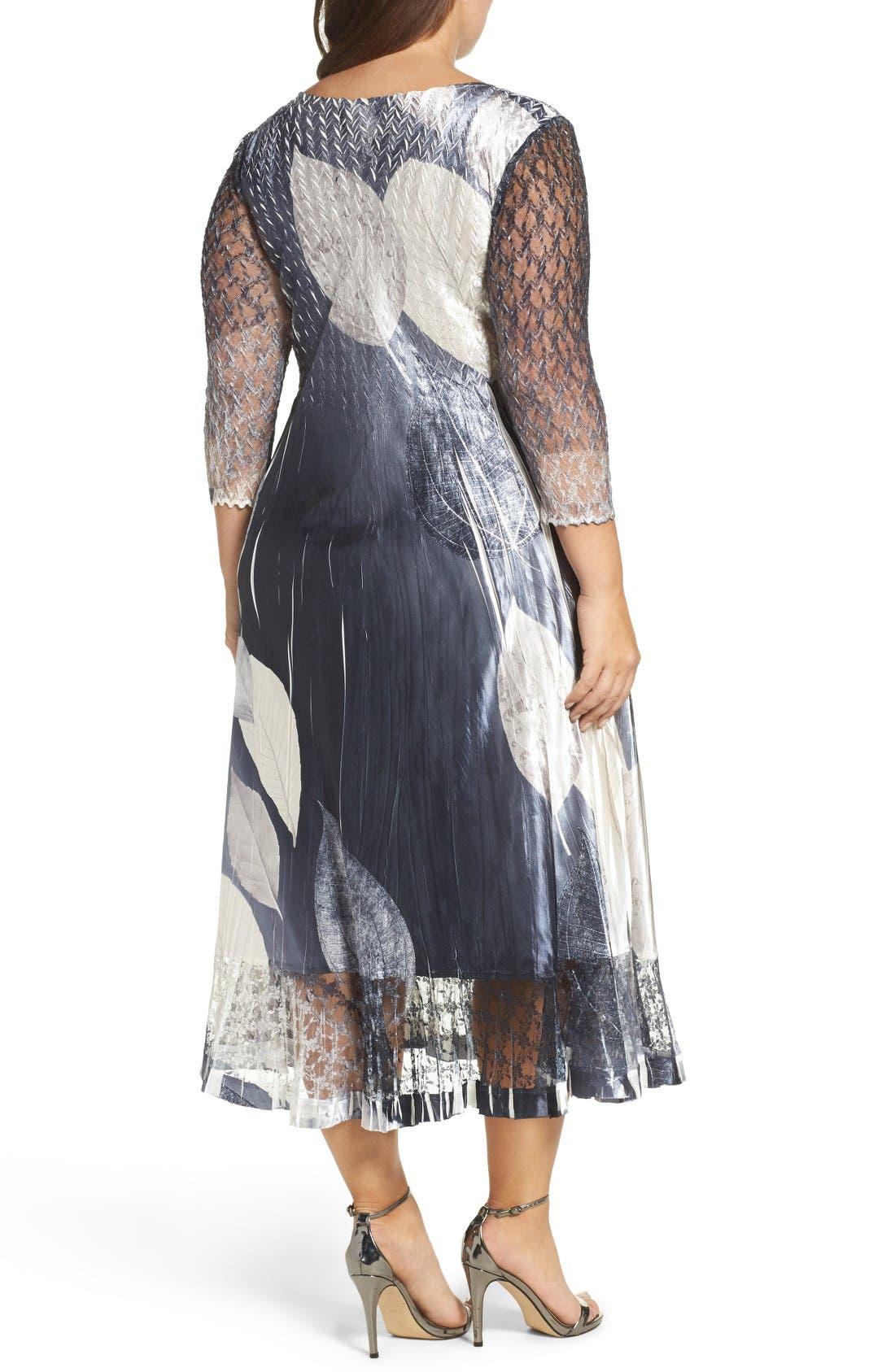 Alternate Image 2  - Komarov Mixed Media Midi Dress (Plus Size)