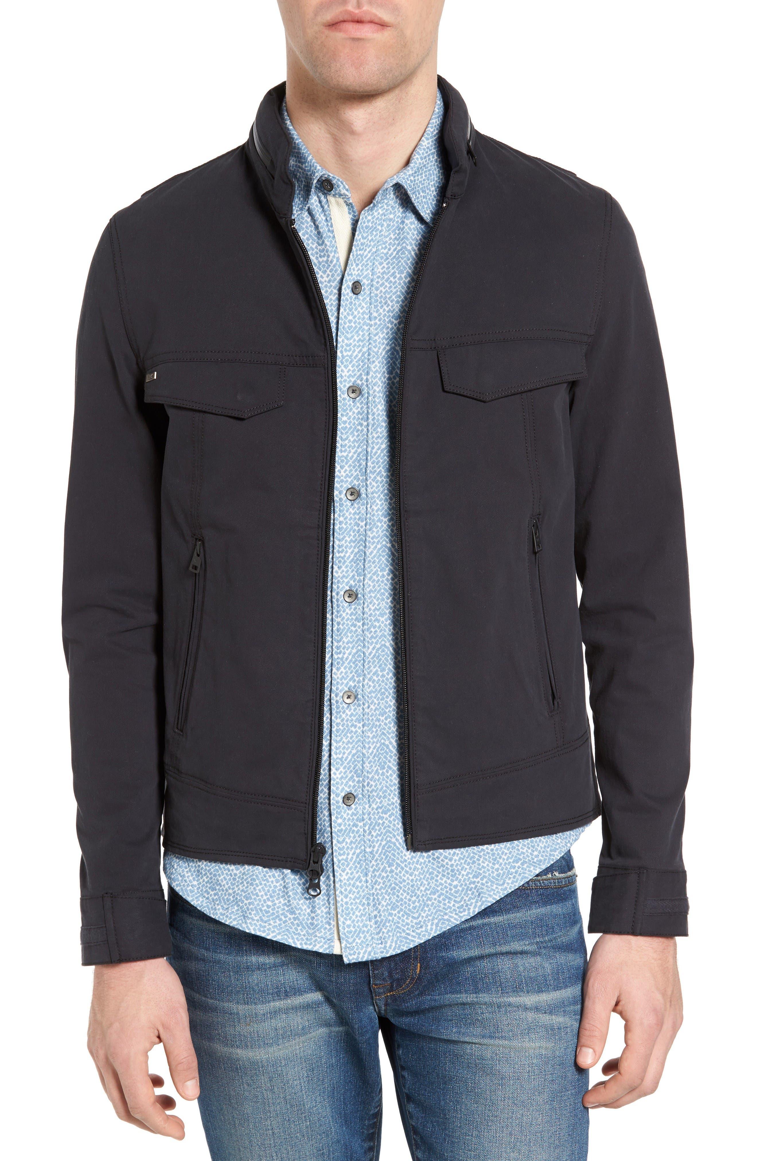 Burl Hooded Twill Jacket,                         Main,                         color, Black