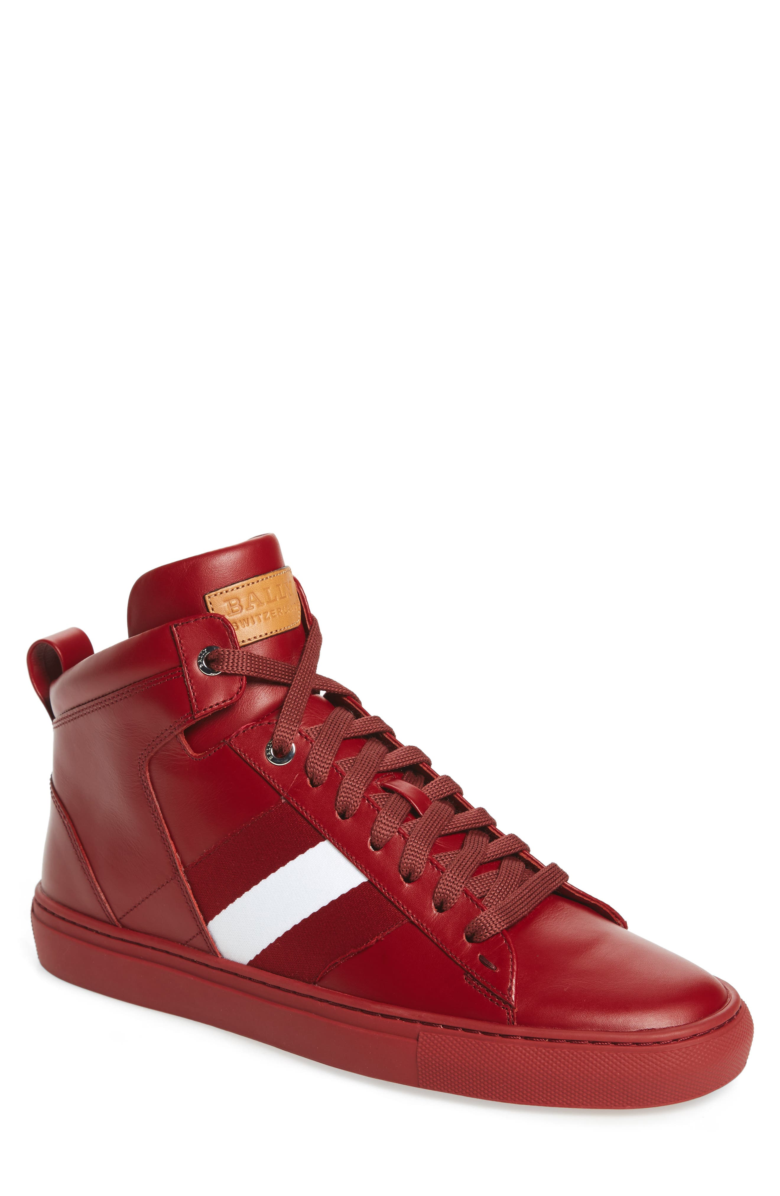 Hedern Sneaker,                         Main,                         color, Red Leather