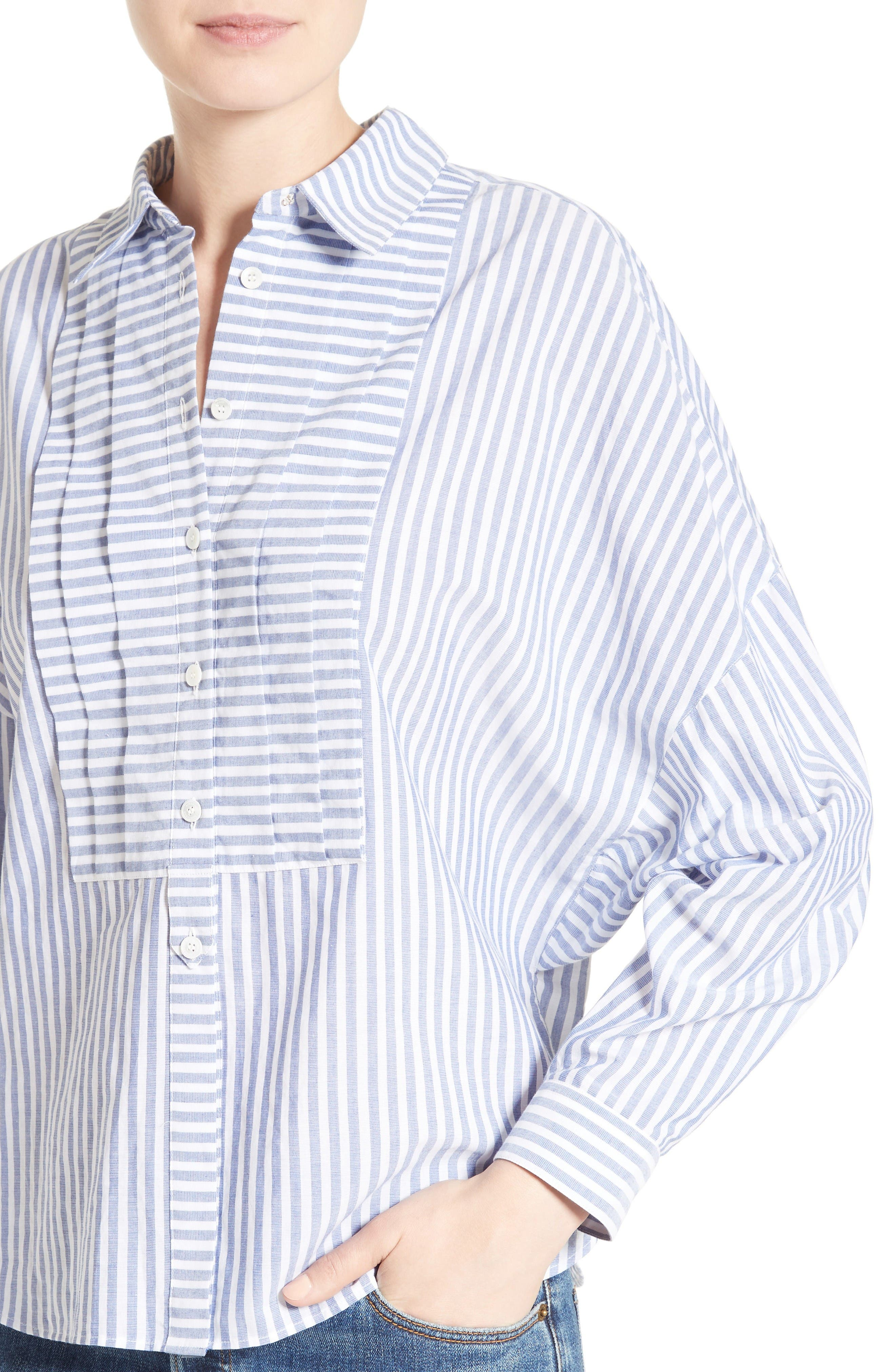 Posy Stripe Bib Boyfriend Shirt,                             Alternate thumbnail 6, color,                             Pale Blue/ White