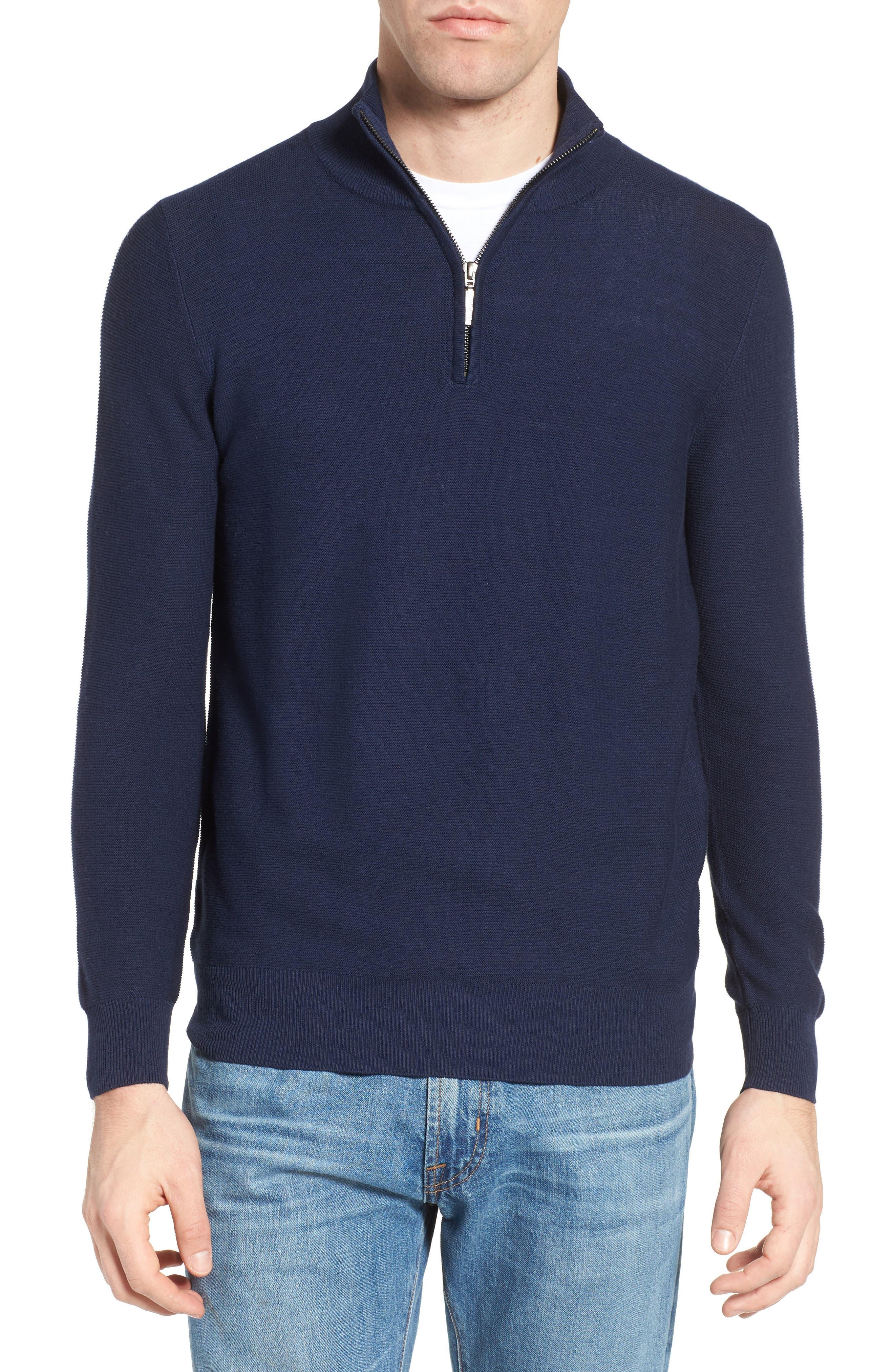 Quarter Zip Sweater,                             Main thumbnail 1, color,                             Navy