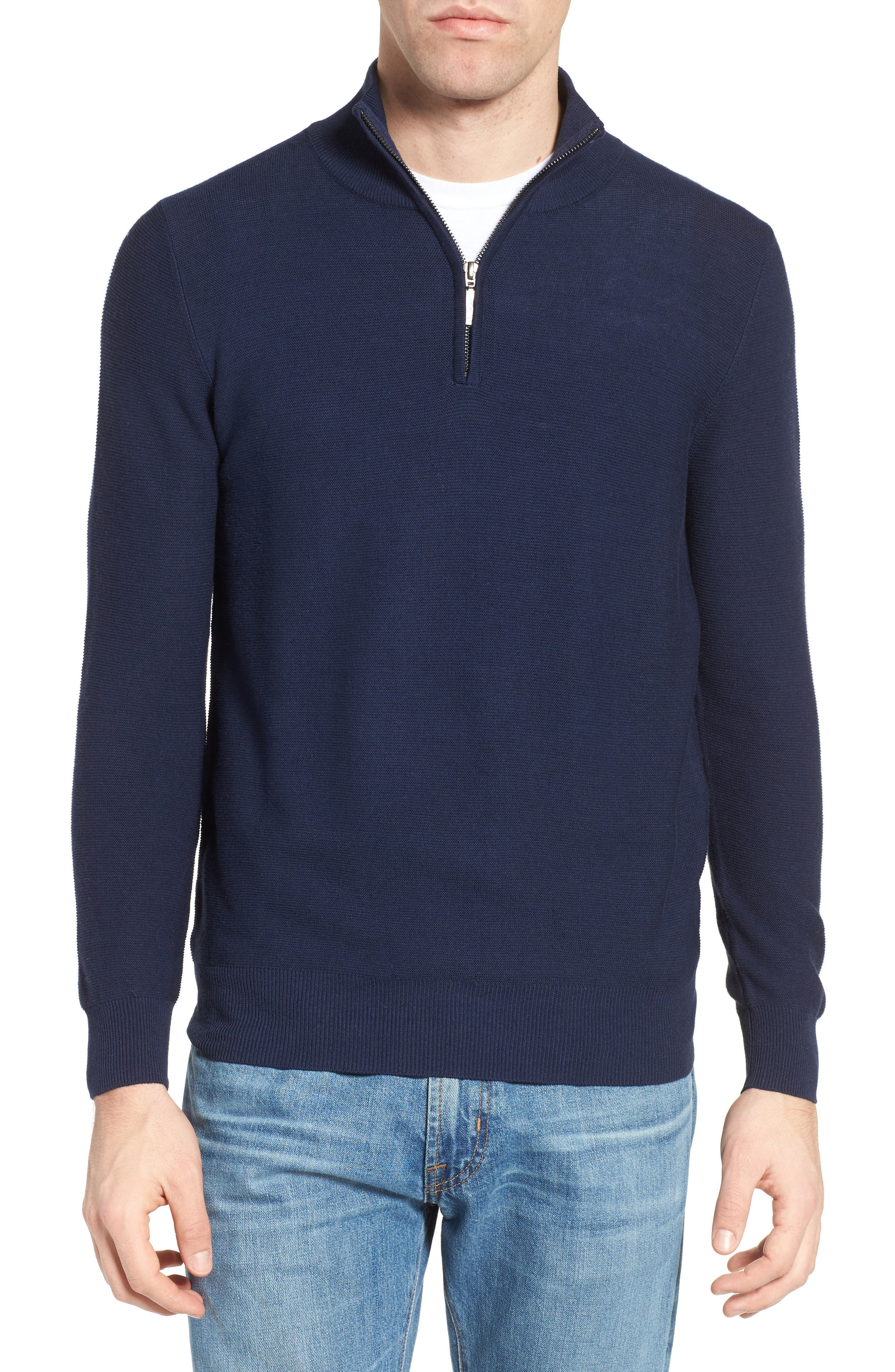 Quarter Zip Sweater,                         Main,                         color, Navy