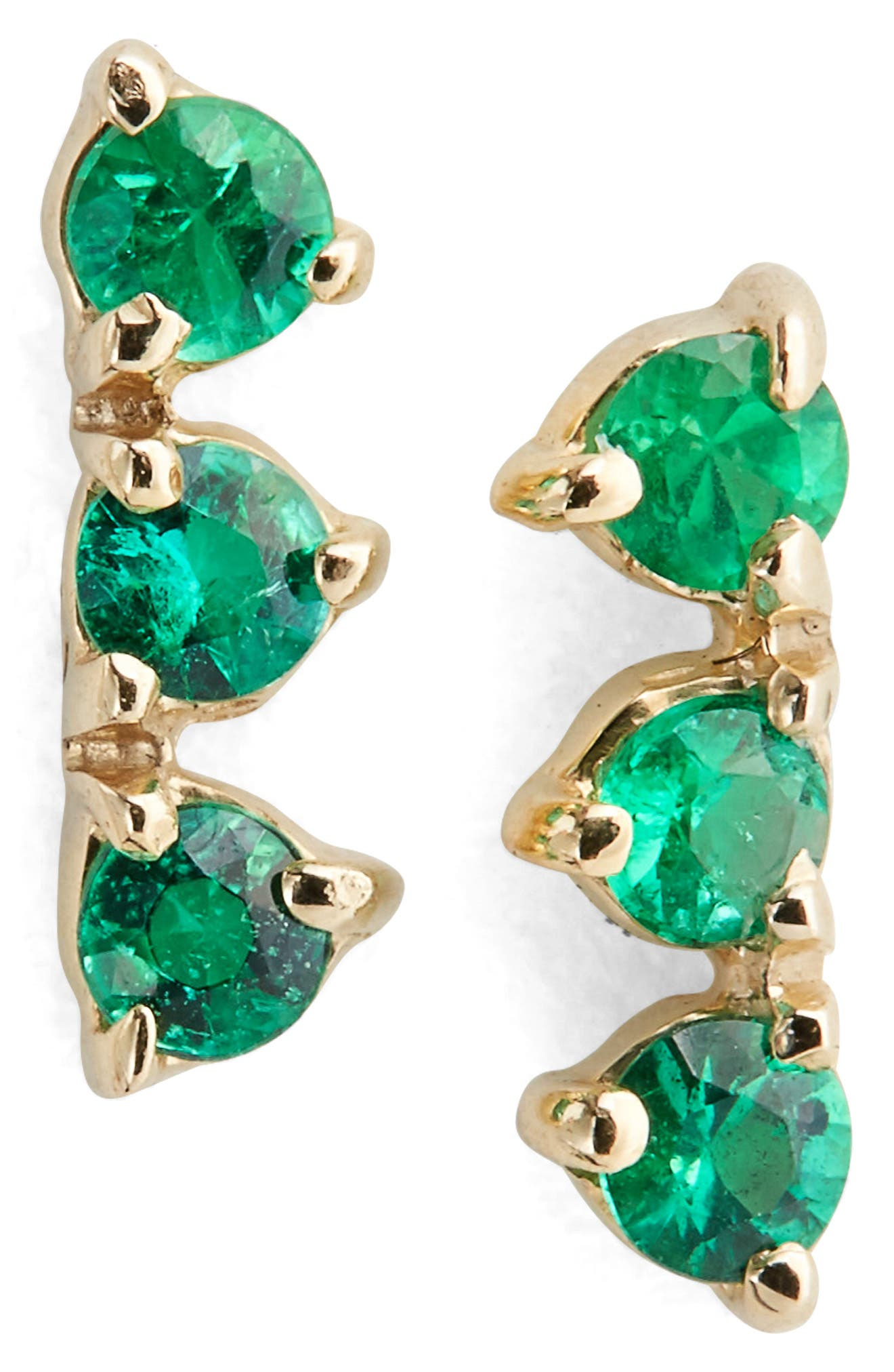 WWAKE Counting Collection Three-Step Emerald Statement Earrings