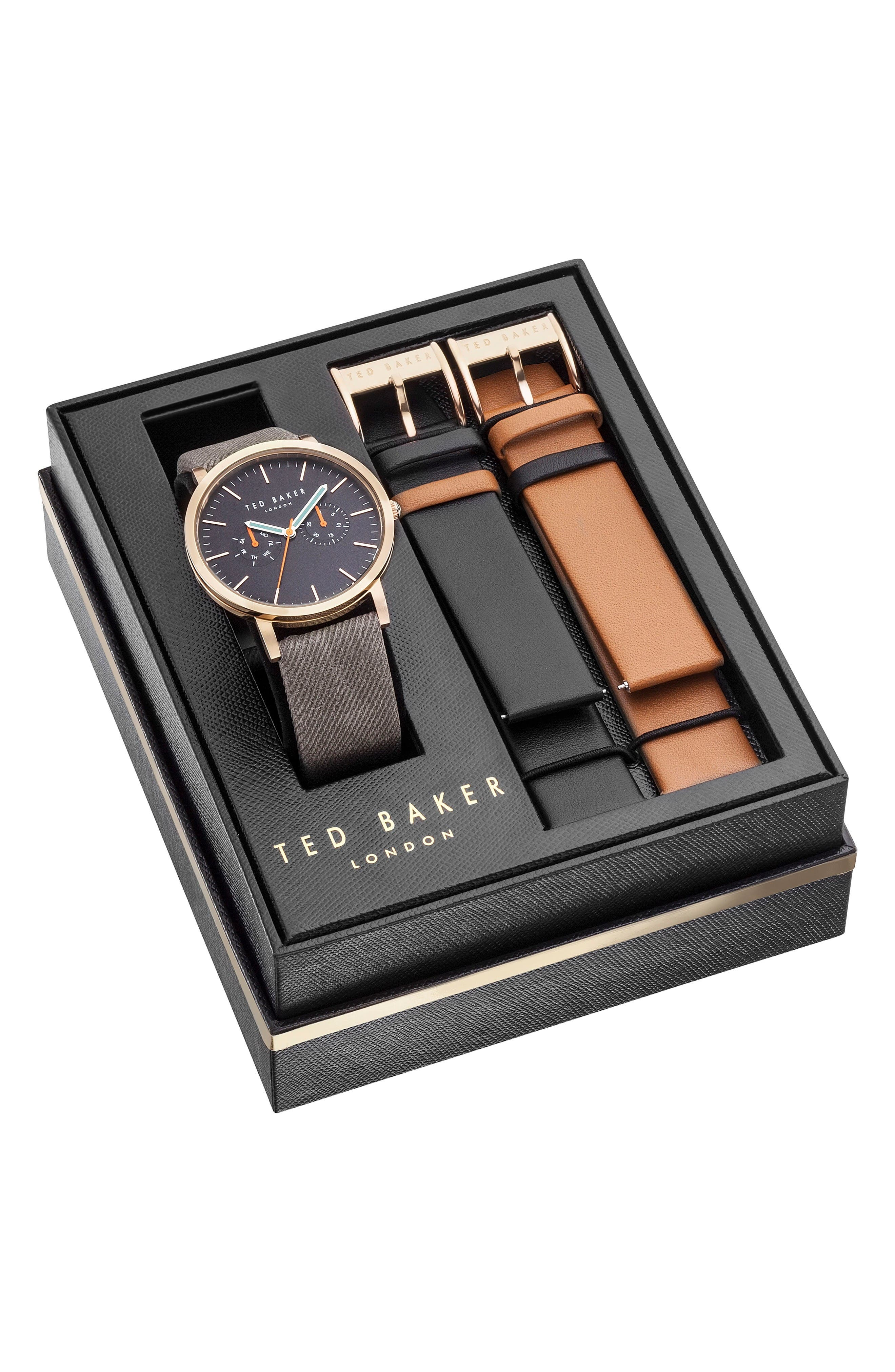 TED BAKER LONDON Brit Canvas & Leather Strap Watch Set, 42mm