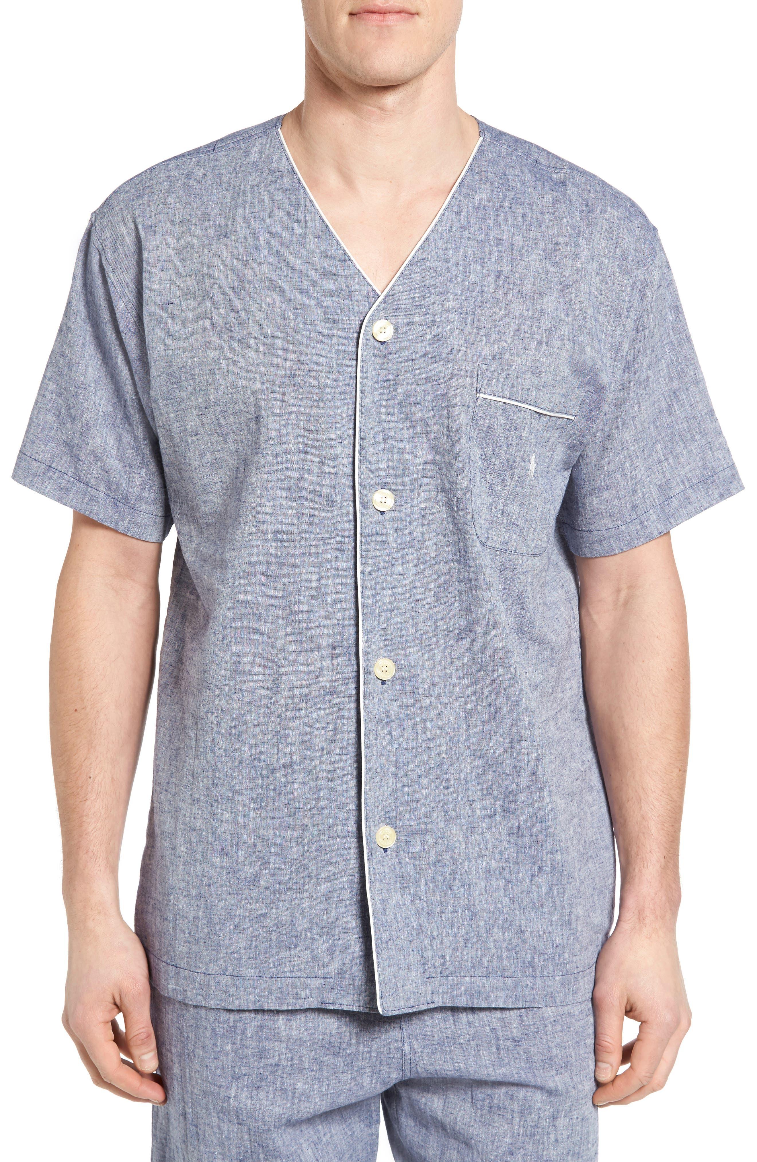 Linen & Cotton Pajama Shirt,                         Main,                         color, Blue