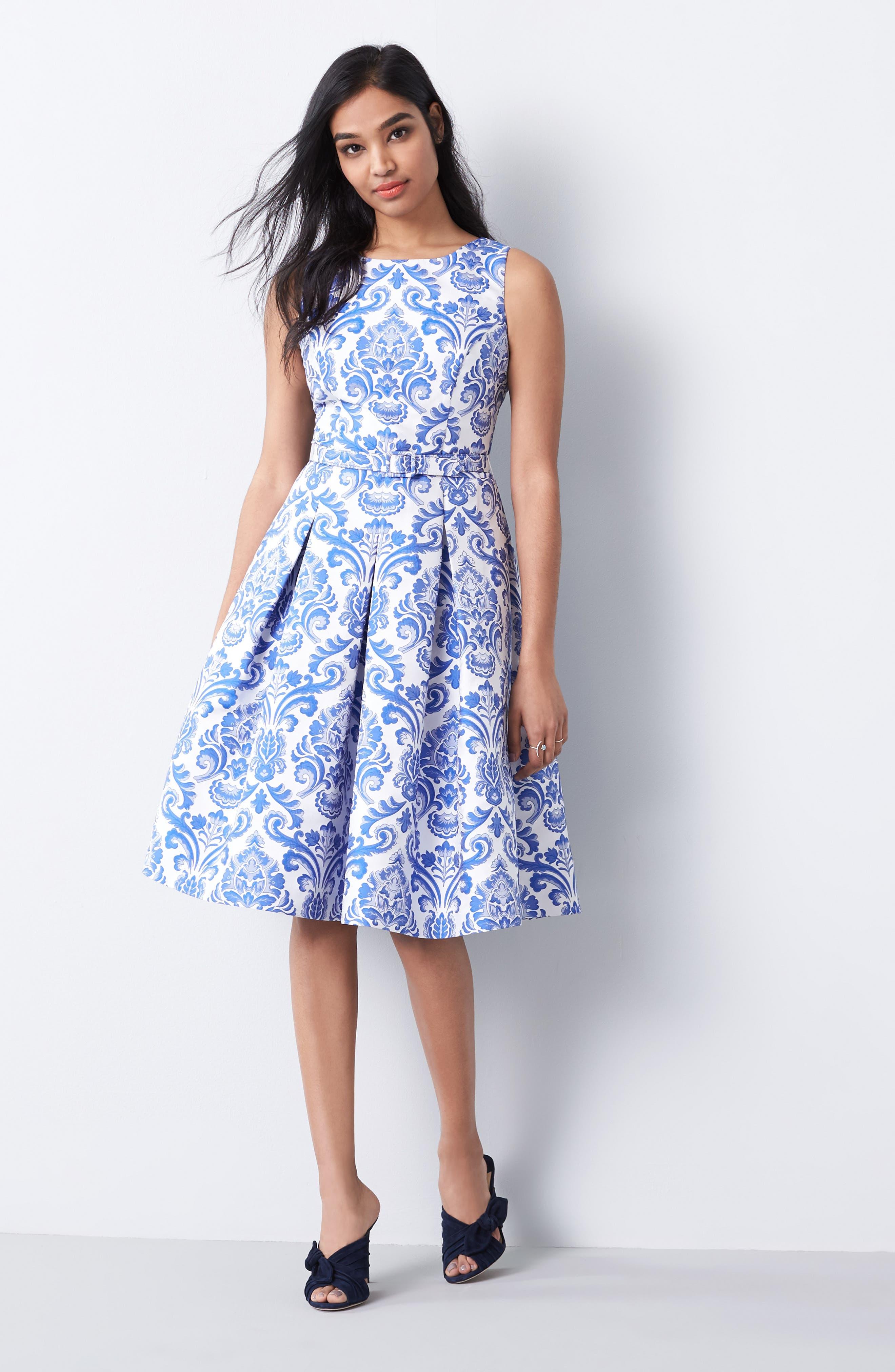 Alternate Image 2  - Eliza J Jacquard Fit & Flare Dress (Regular & Petite)