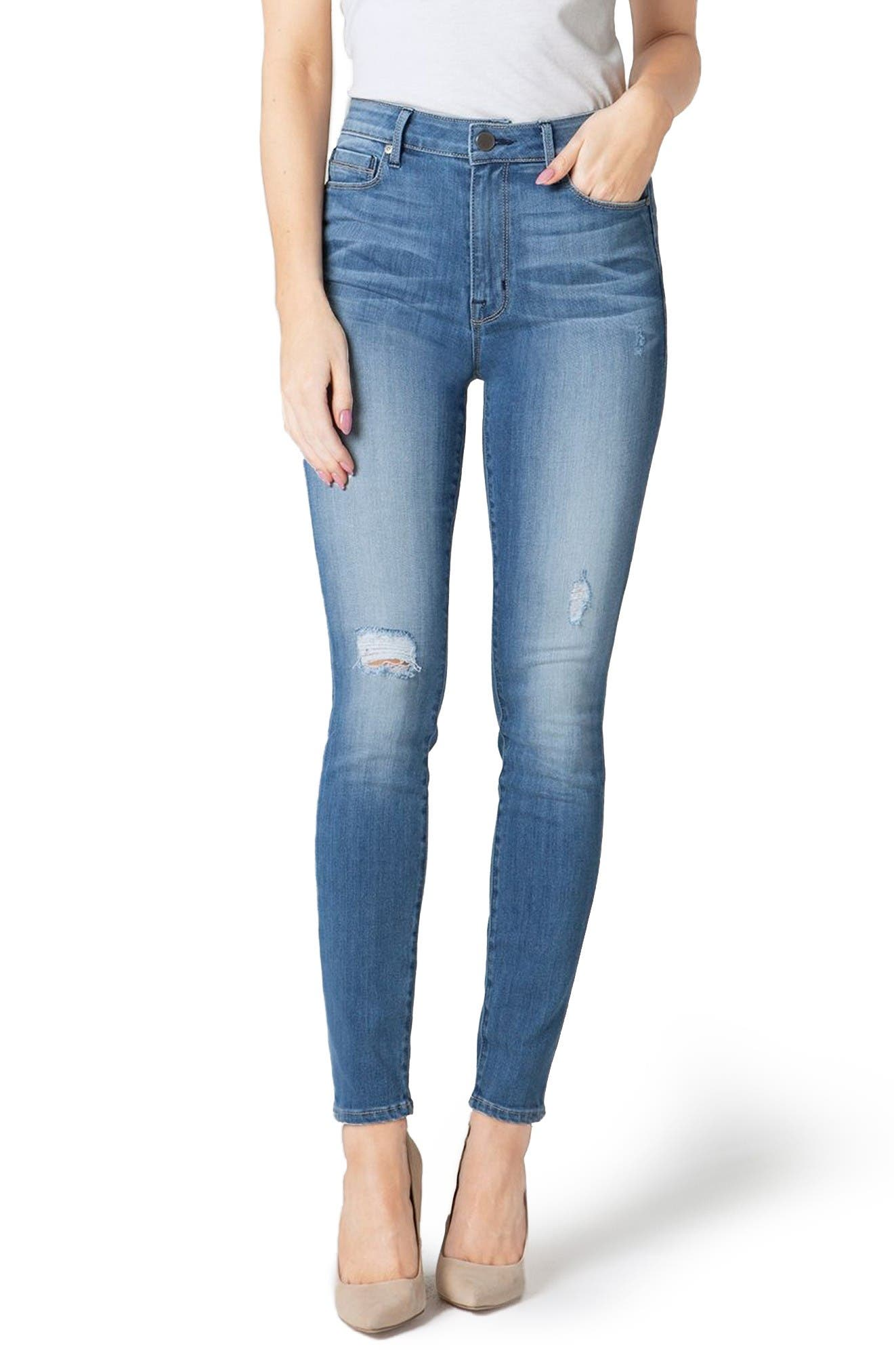 Bombshell High Waist Stretch Skinny Jeans,                             Main thumbnail 1, color,                             Gulf Stream