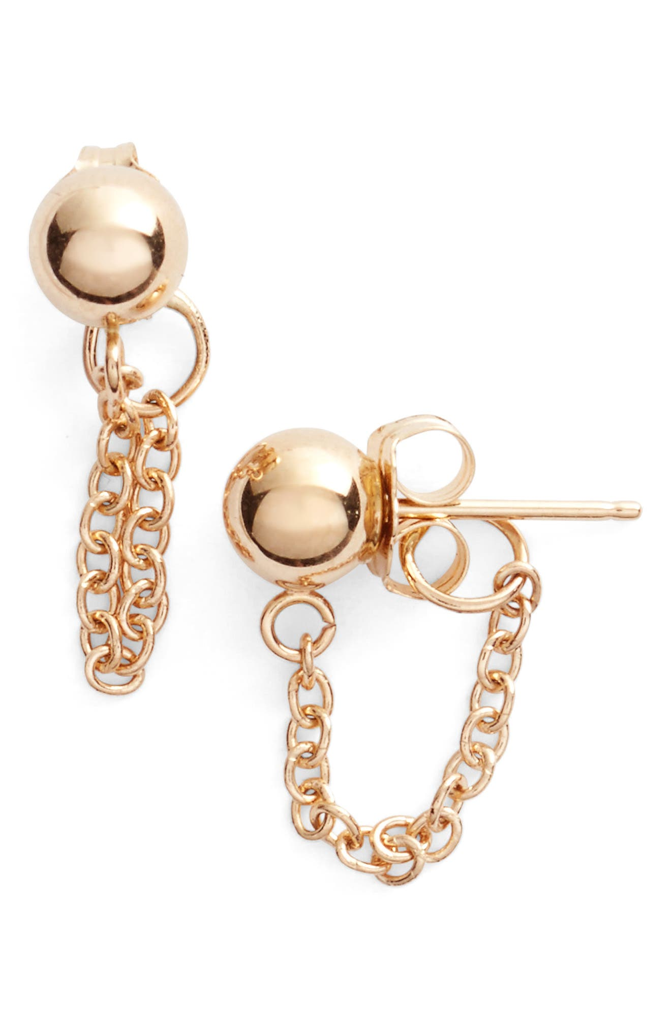 Gold Ball Chain Earrings,                         Main,                         color, Yellow Gold/ White Pearl