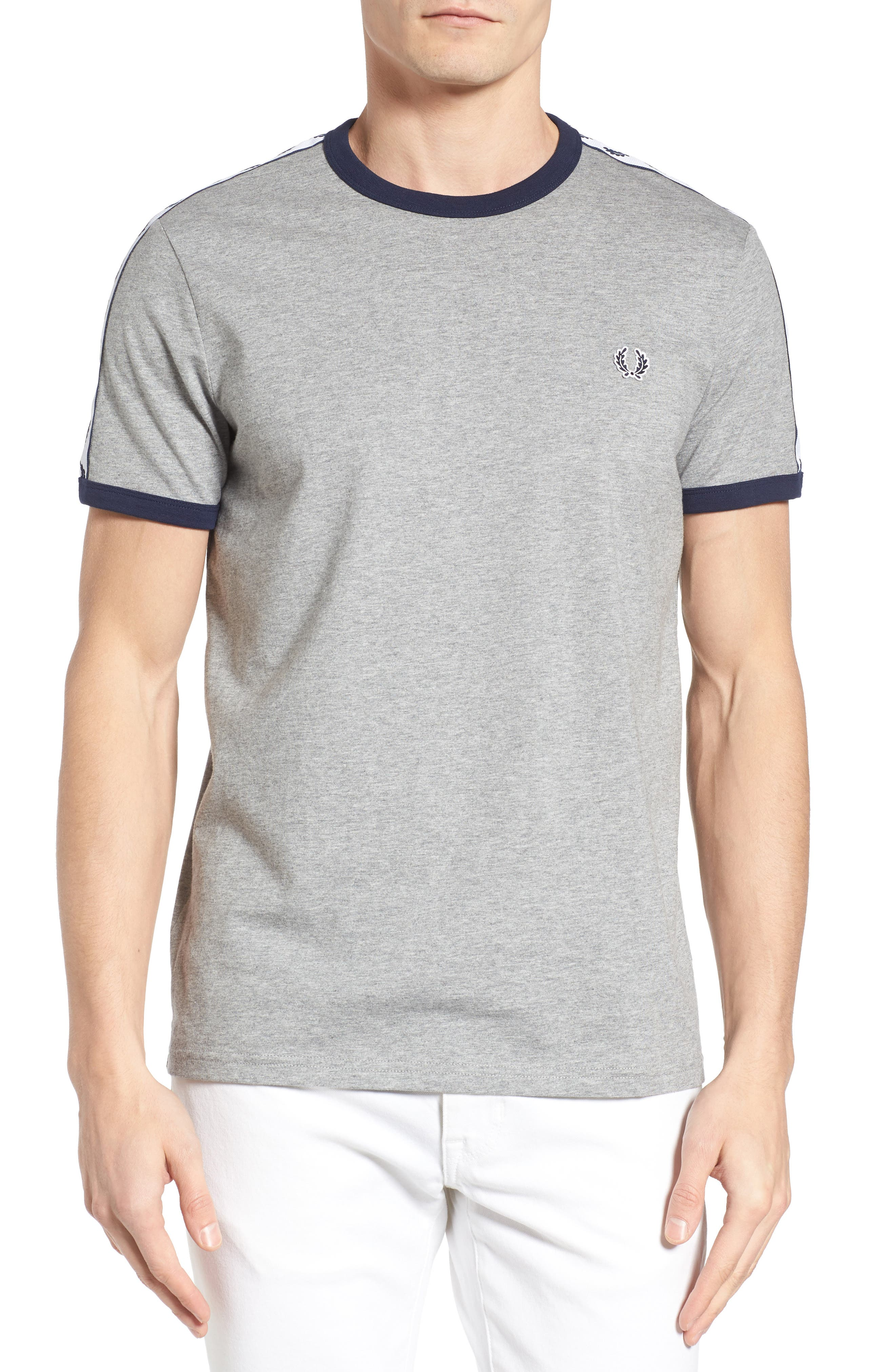 Extra Trim Fit Cotton Ringer T-Shirt,                         Main,                         color, Steel Marl
