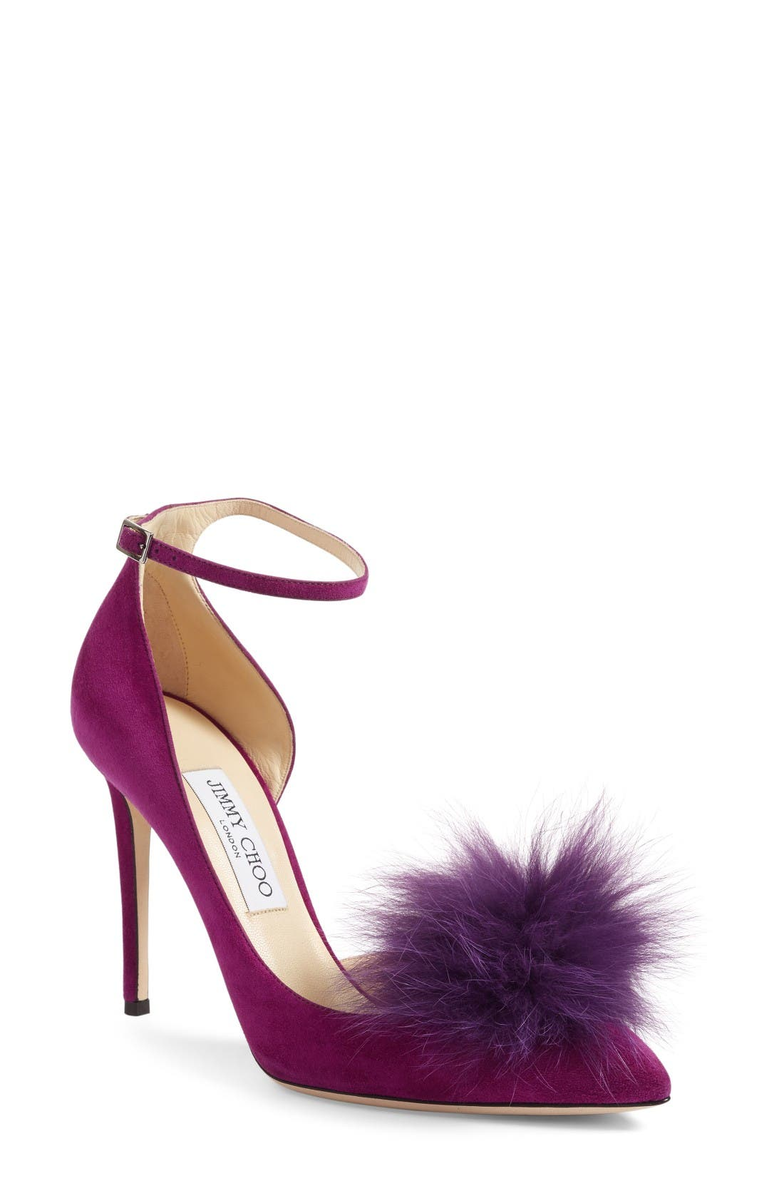 Alternate Image 1 Selected - Jimmy Choo Rosa Pump with Genuine Fox Fur Pom Charm (Women)