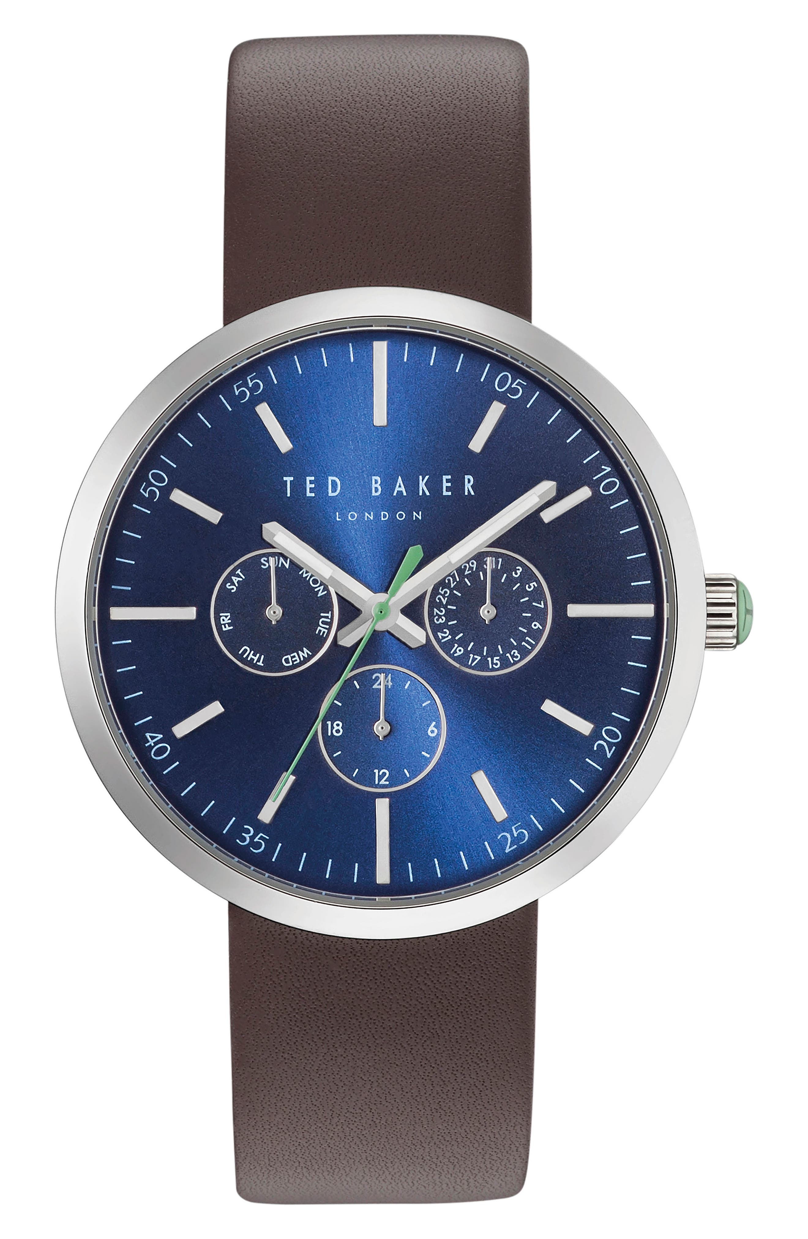 Main Image - Ted Baker London Jack Multifunction Leather Strap Watch, 42mm