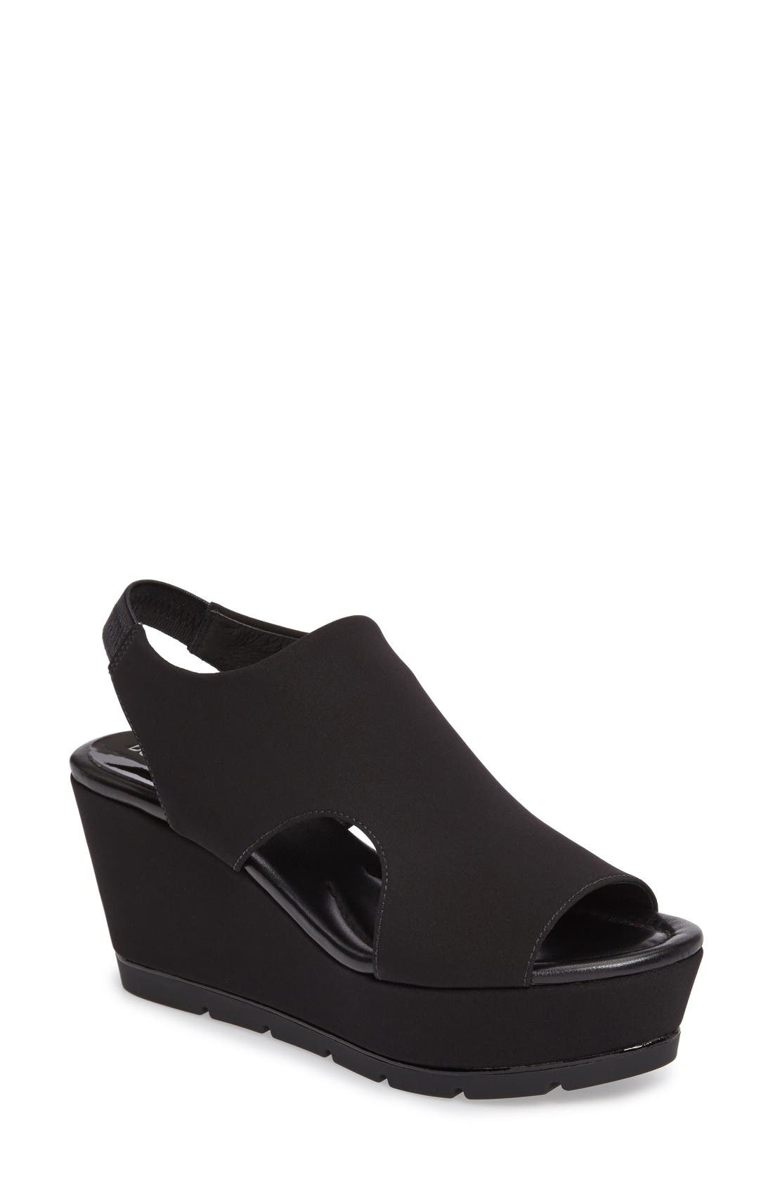 Donald J Pliner Fonda Platform Wedge Sandal,                             Main thumbnail 1, color,                             Black Crepe