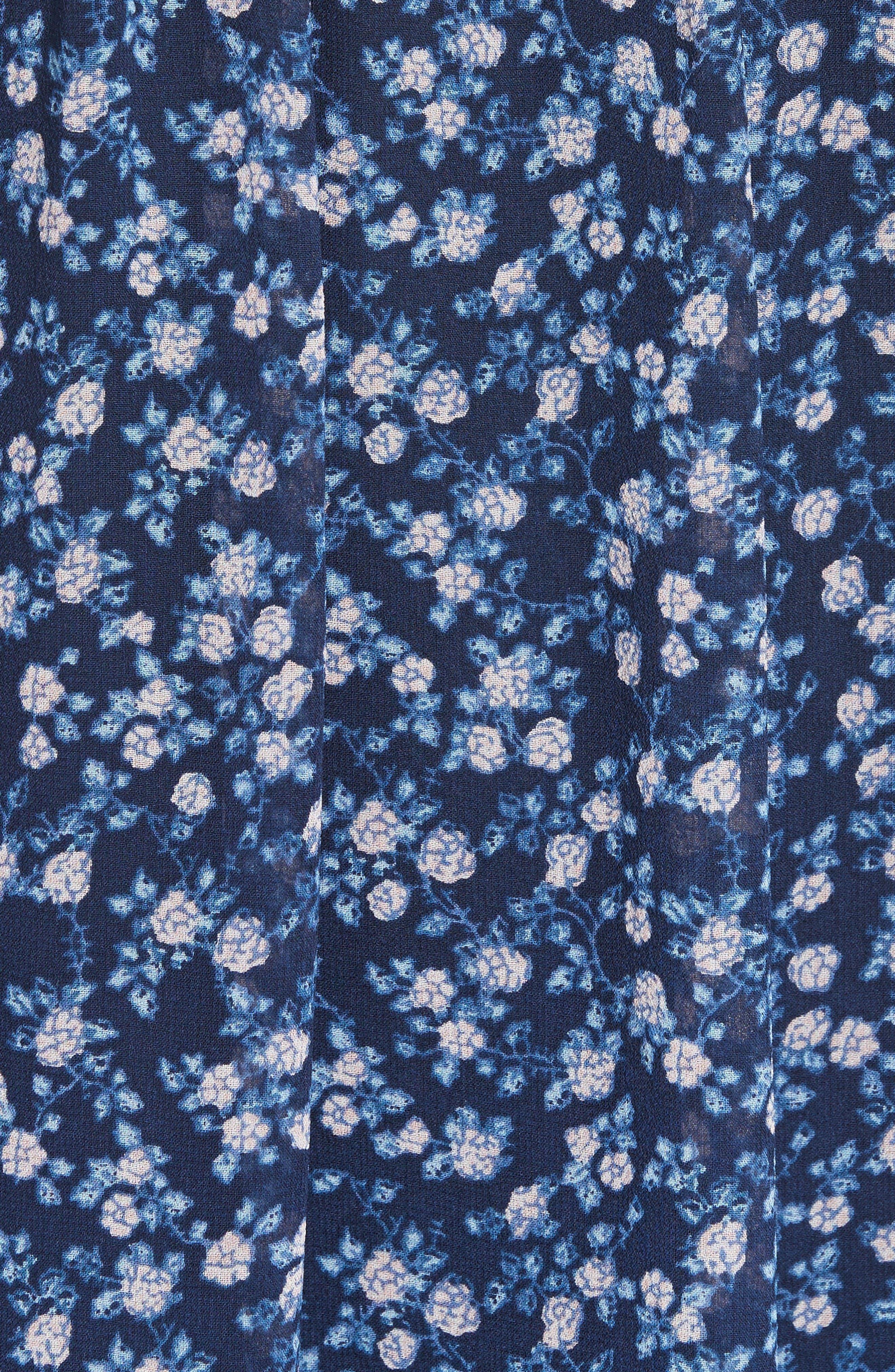 Tahoma Pintuck Silk Swing Dress,                             Alternate thumbnail 5, color,                             Dark Navy