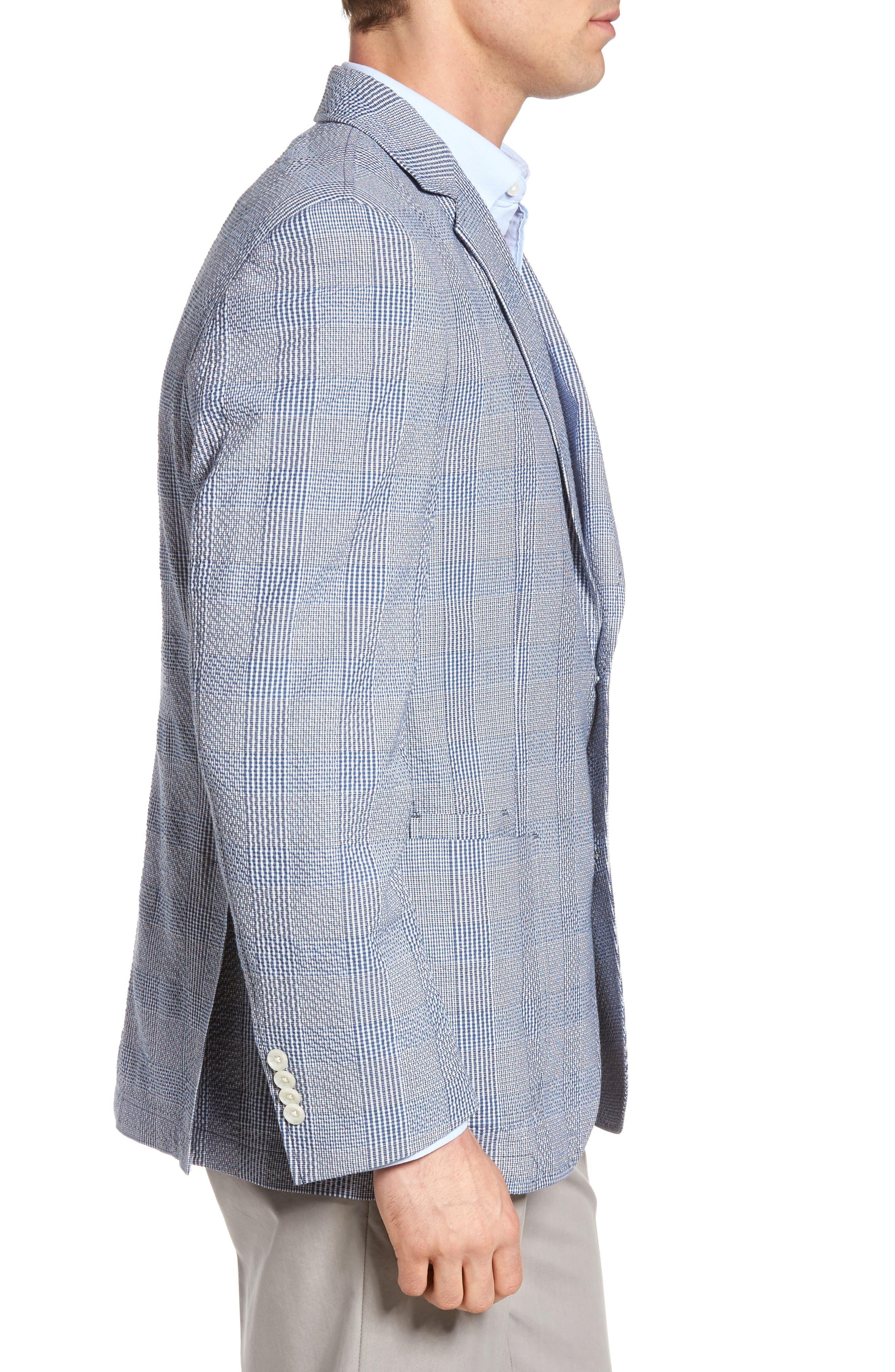 Babbitt Plaid Seersucker Sport Coat,                             Alternate thumbnail 3, color,                             Blue