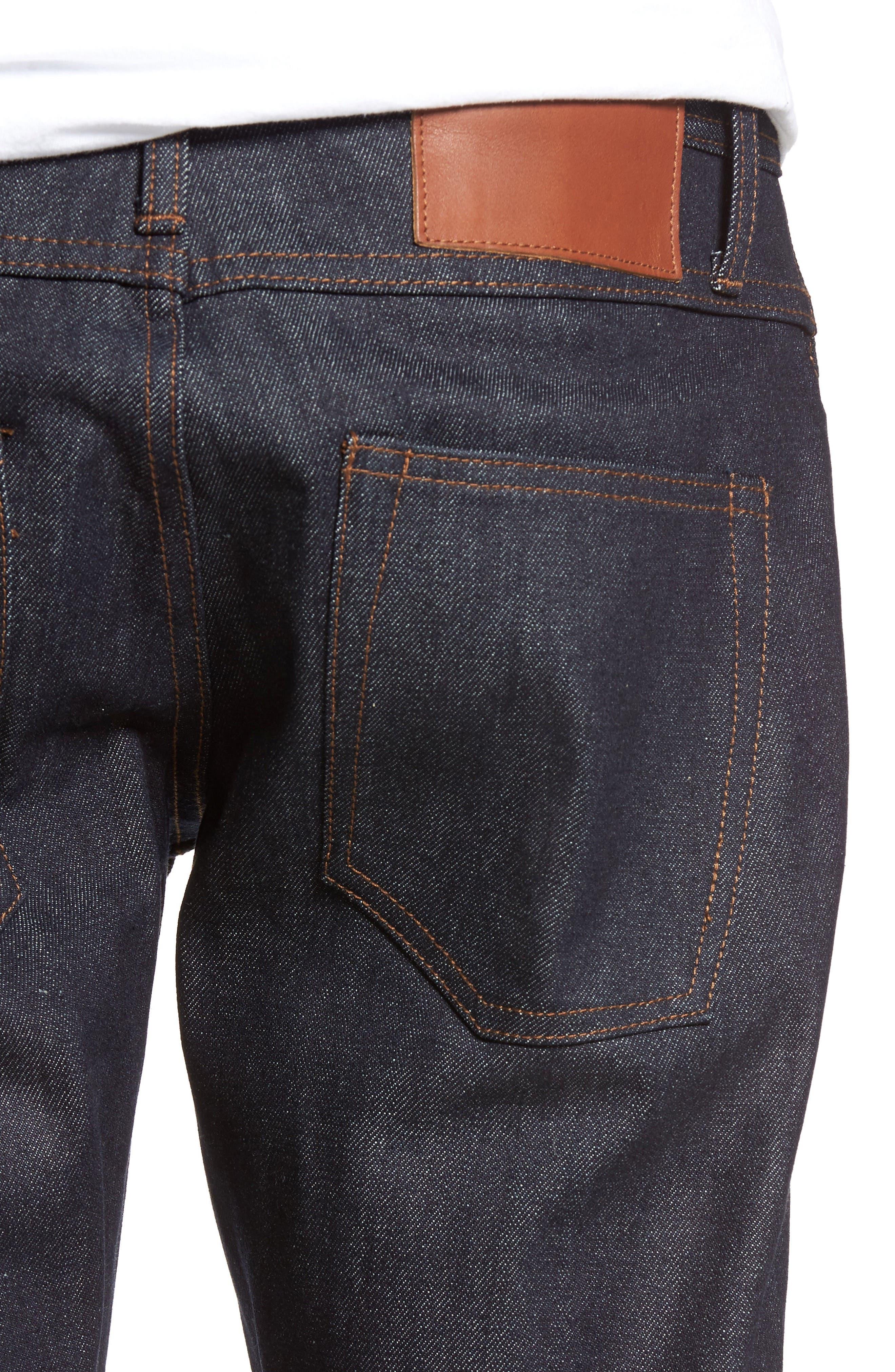 Alternate Image 4  - The Unbranded Brand UB301 Straight Leg Raw Selvedge Jeans (Indigo)