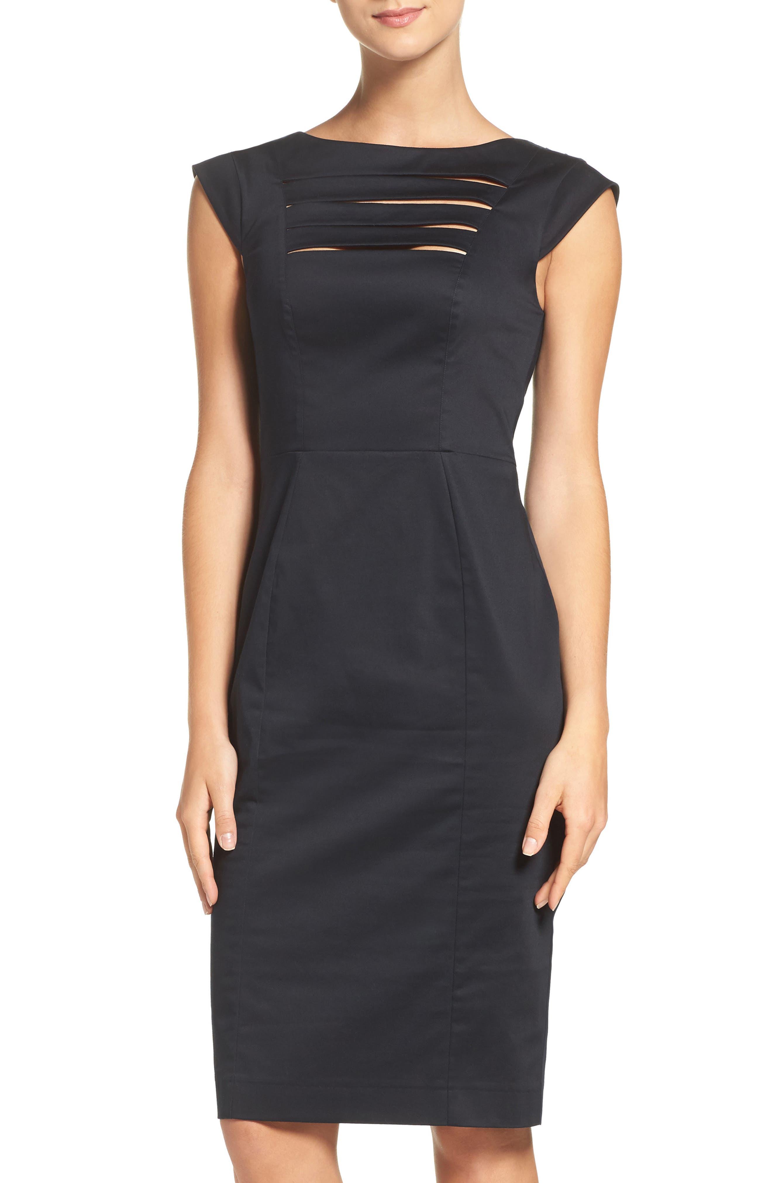 'Estelle' Cutout Cotton Blend Sheath Dress,                             Main thumbnail 1, color,                             Black/ Black