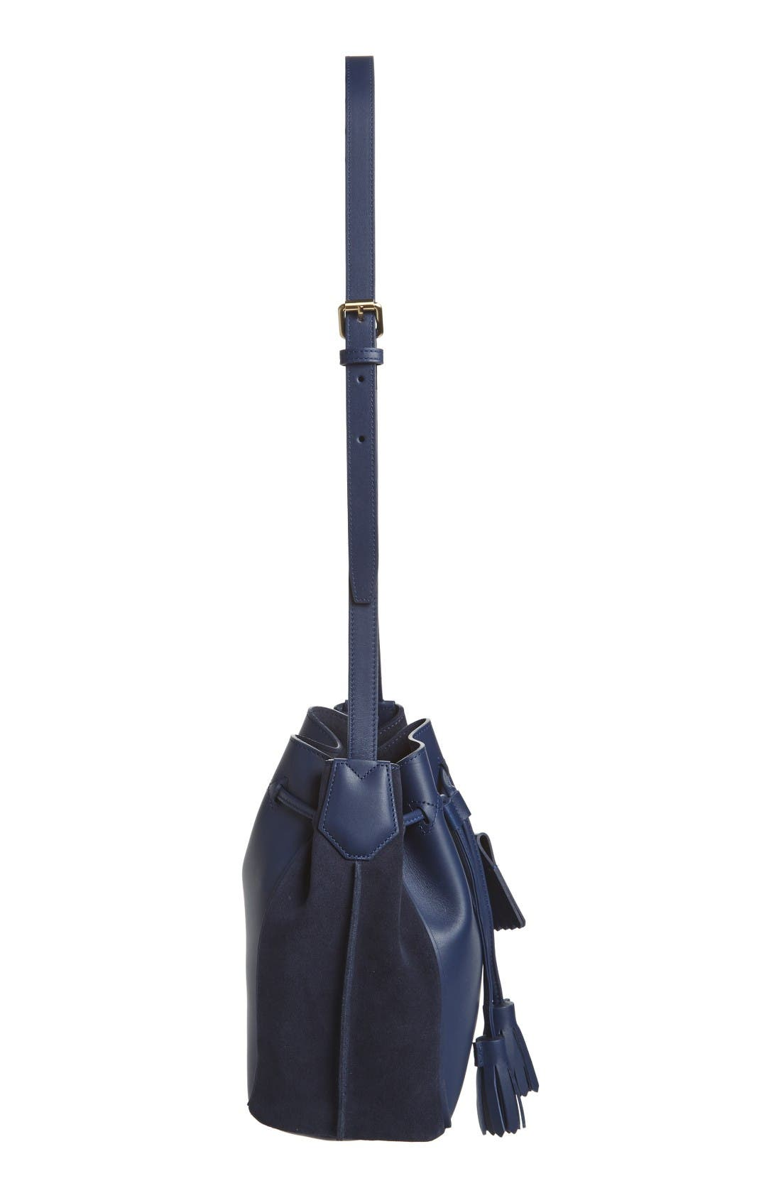 Penelope Fantasie Leather Bucket Bag,                             Alternate thumbnail 5, color,                             Blue
