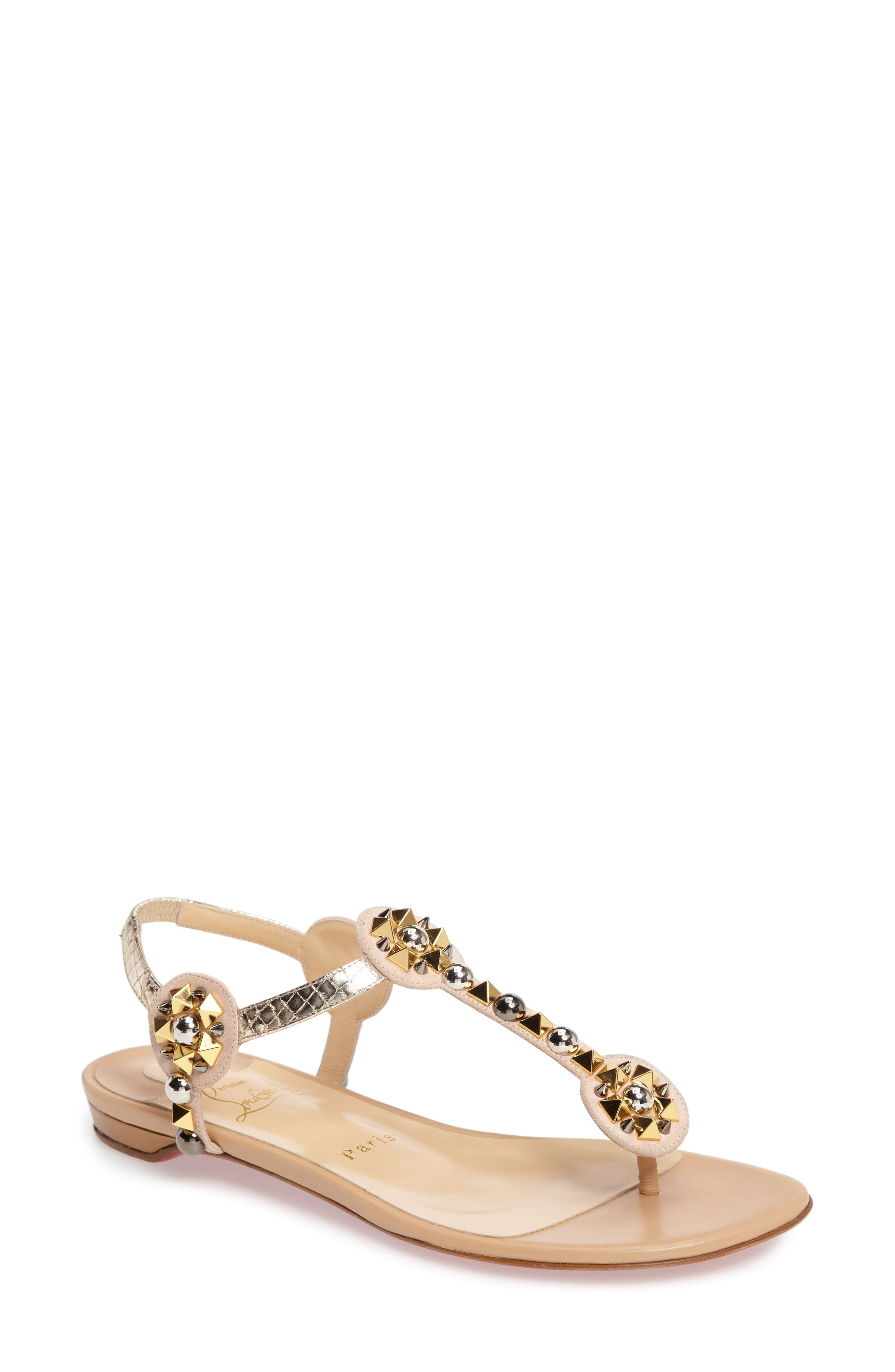 Kaleidra T-Strap Sandal,                             Main thumbnail 1, color,                             Nude Leather