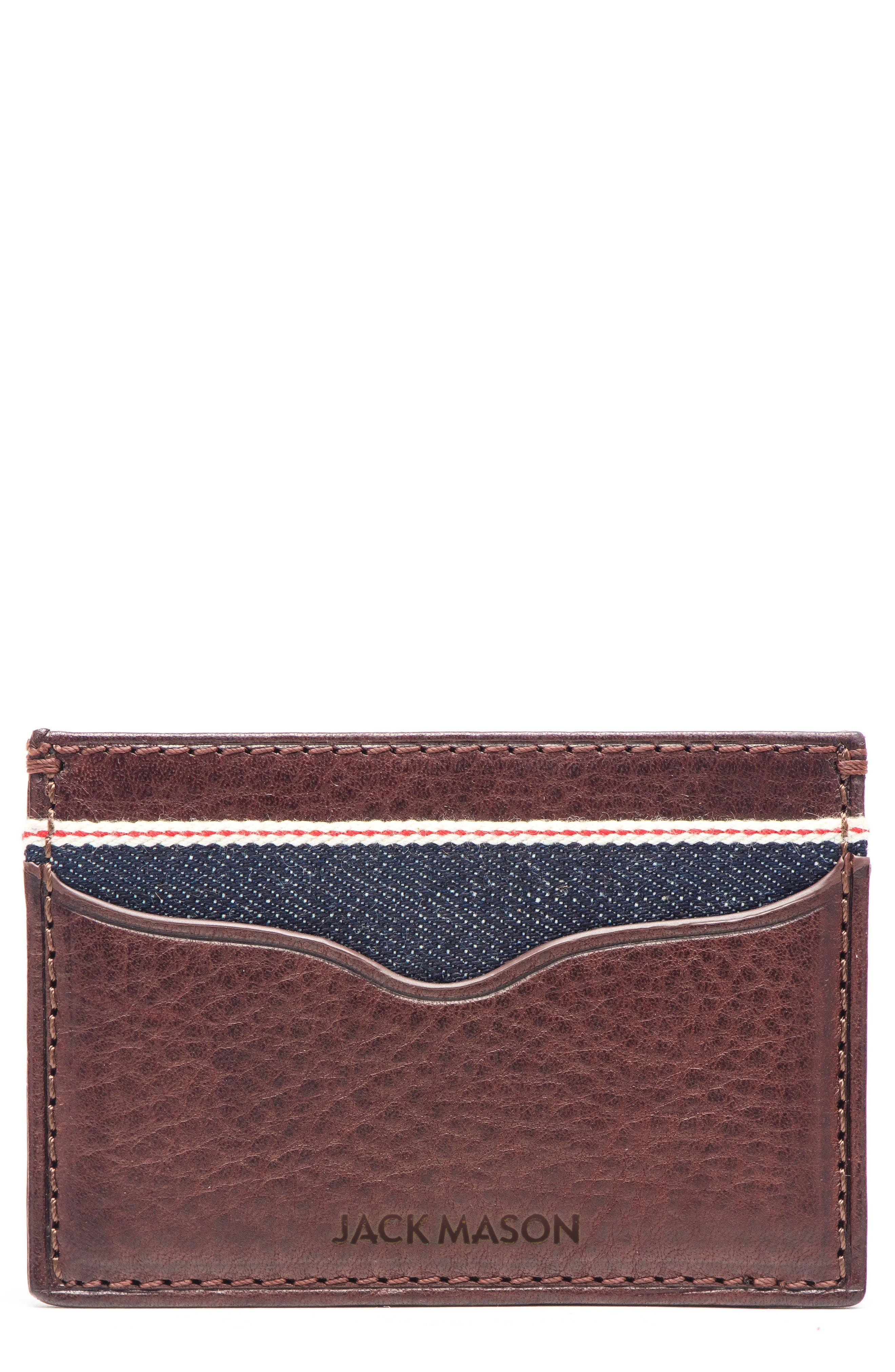 Leather & Denim Card Case,                         Main,                         color, Blue Denim And Brown Leather