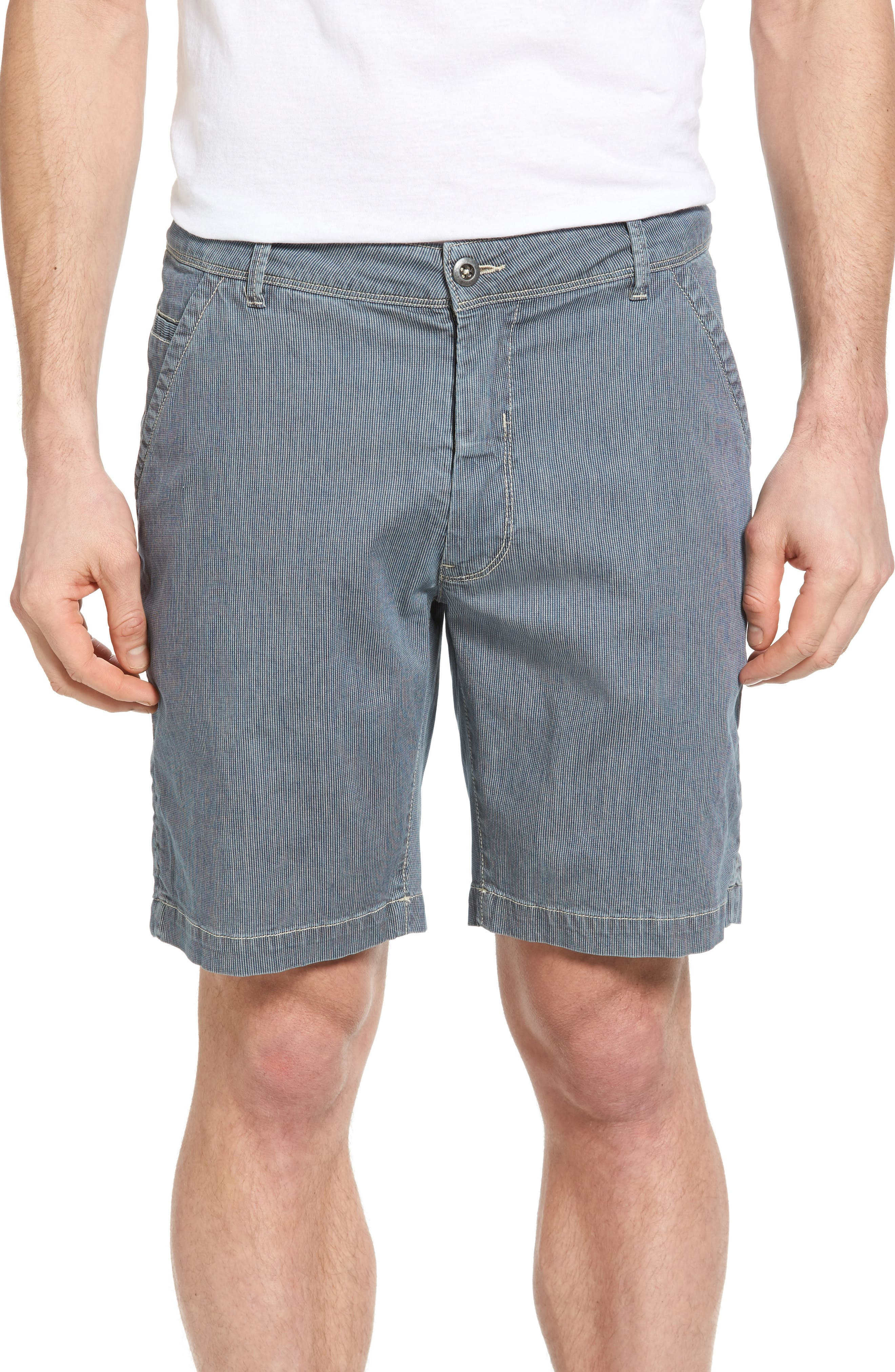 Bryant Stripe Bleached Denim Shorts,                         Main,                         color, Lakeside