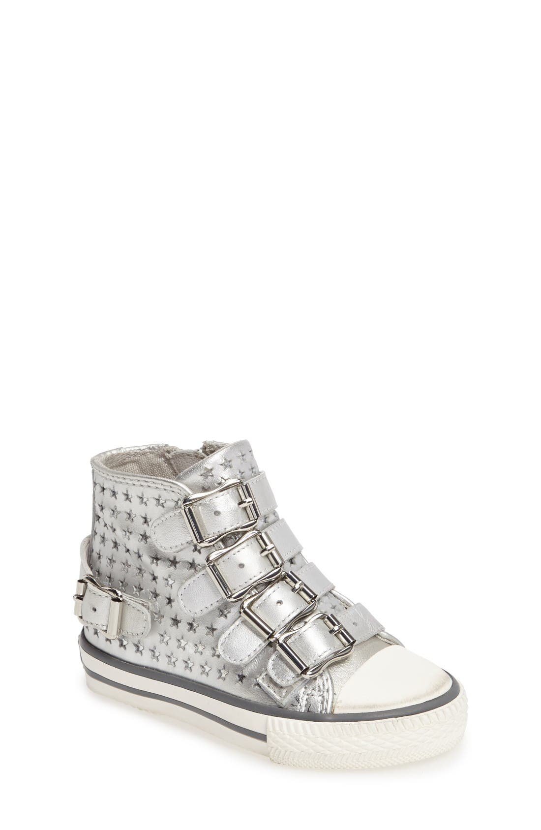Vava Starboss Buckle Strap High Top Sneaker,                             Main thumbnail 1, color,                             Silver Metallic Leather