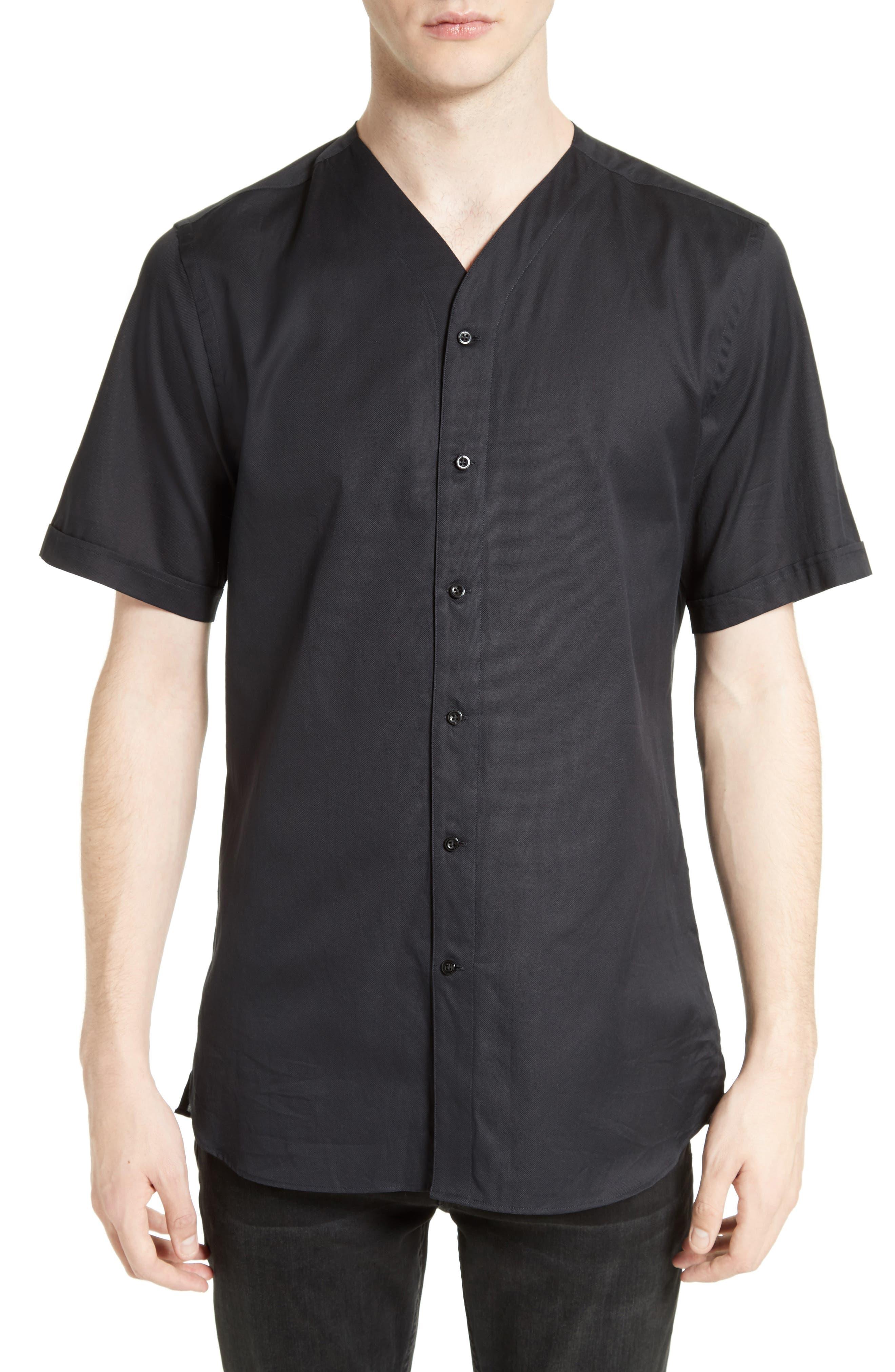 Classic Cotton Woven V-Neck Shirt,                         Main,                         color, Black