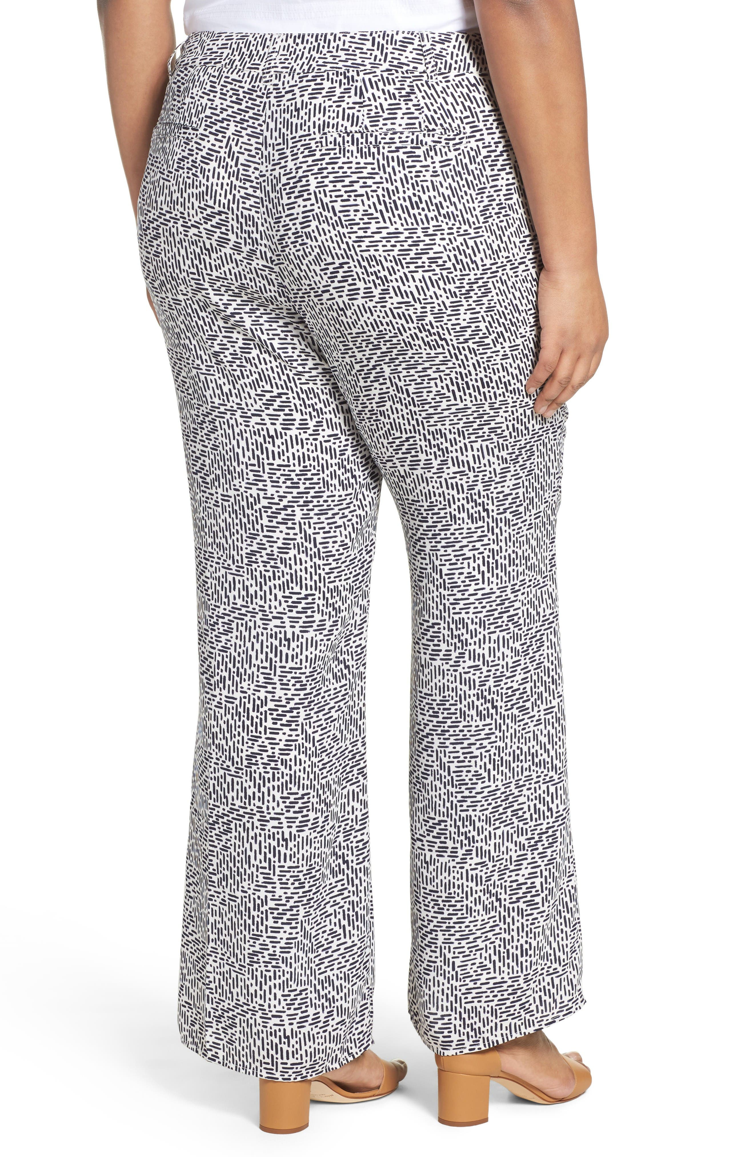 Dots & Dashes Flare Leg Pants,                             Alternate thumbnail 2, color,                             White/ Navy