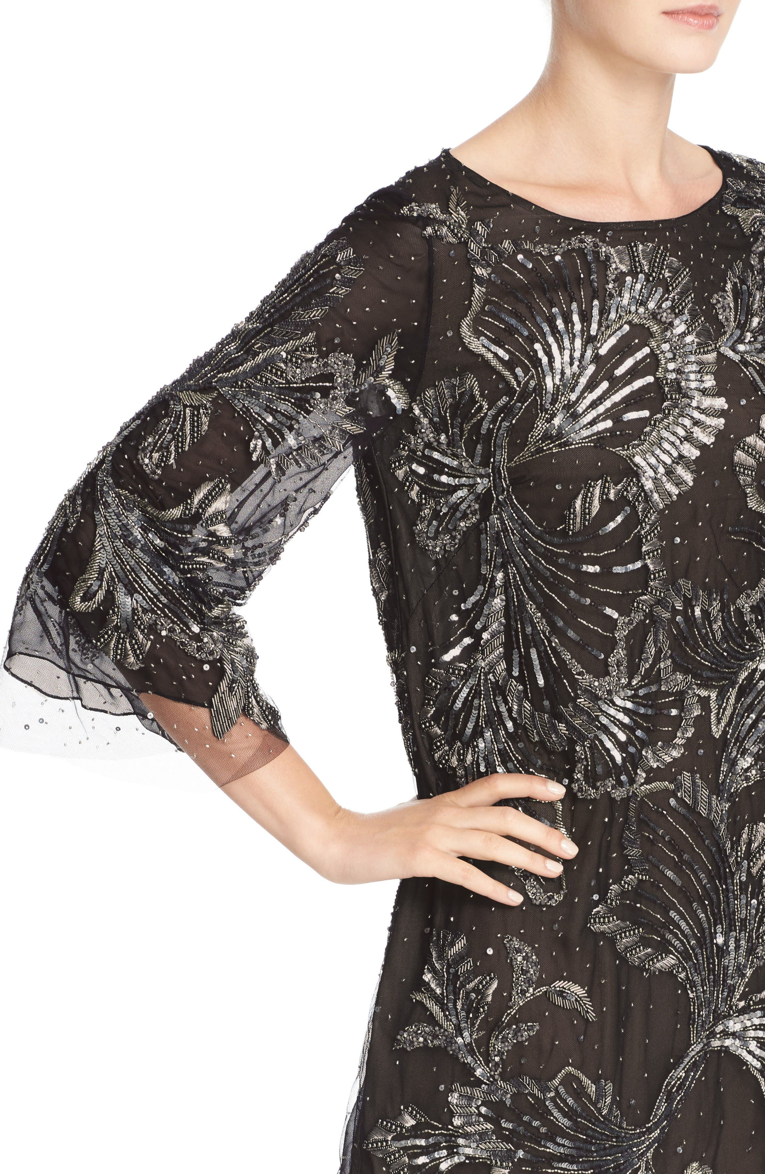 Embellished Three Quarter Sleeve Tulle Tunic,                             Alternate thumbnail 5, color,                             Charcoal
