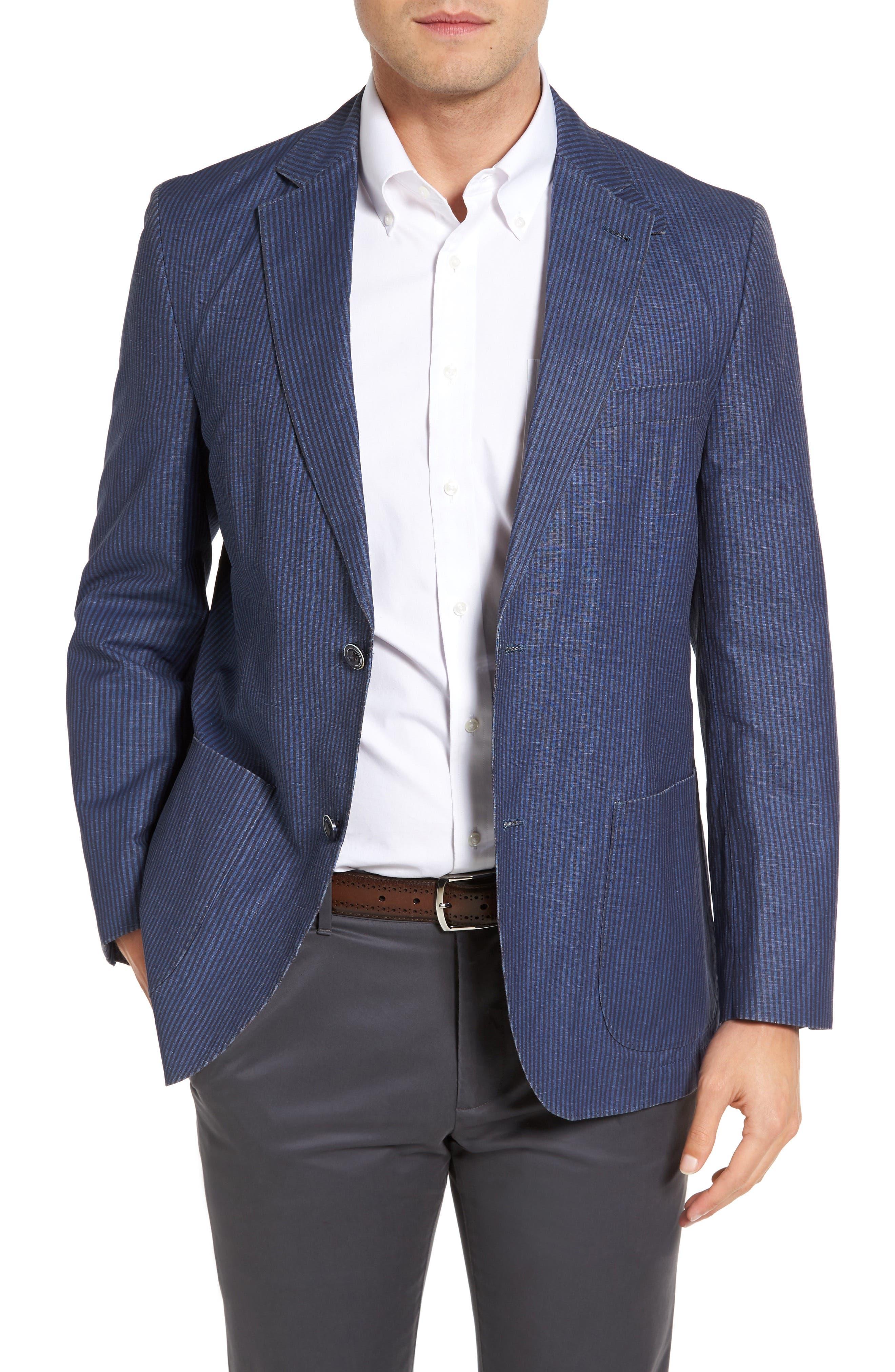 Bono 2 Classic Fit Stripe Cotton & Linen Sport Coat,                         Main,                         color, Blue