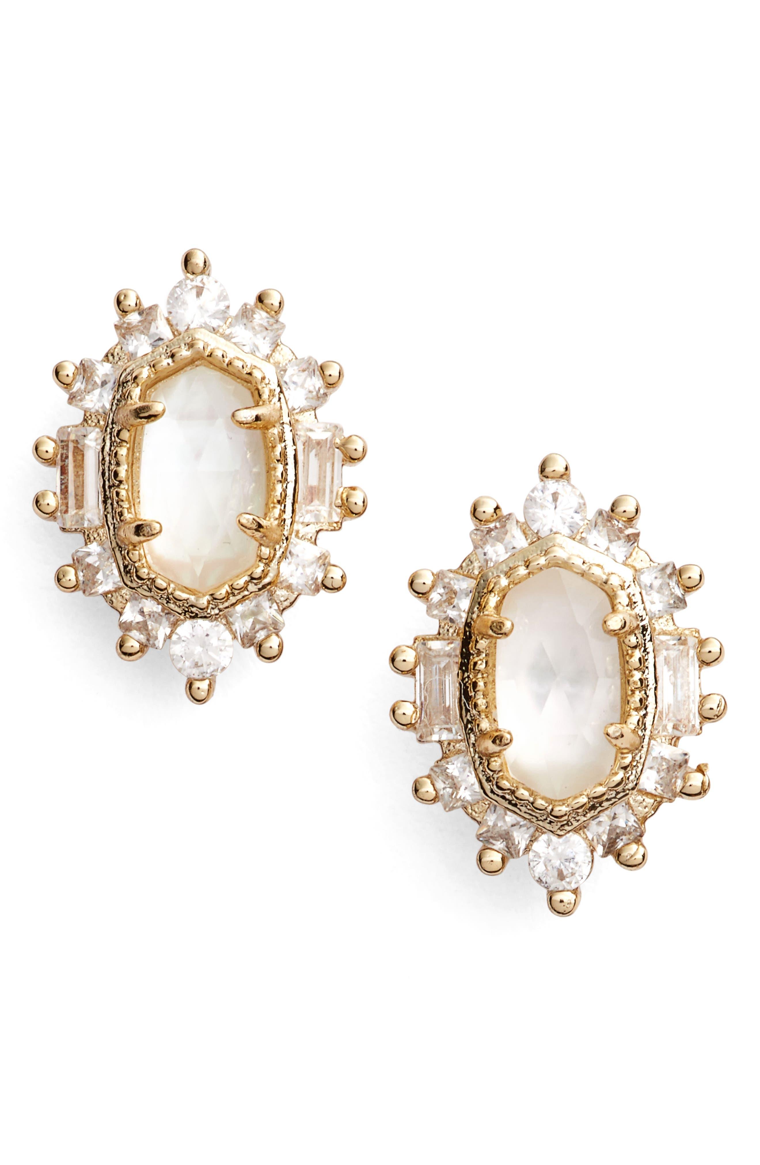 Kaia Stud Earrings,                             Main thumbnail 1, color,                             Ivory Mop/ Gold