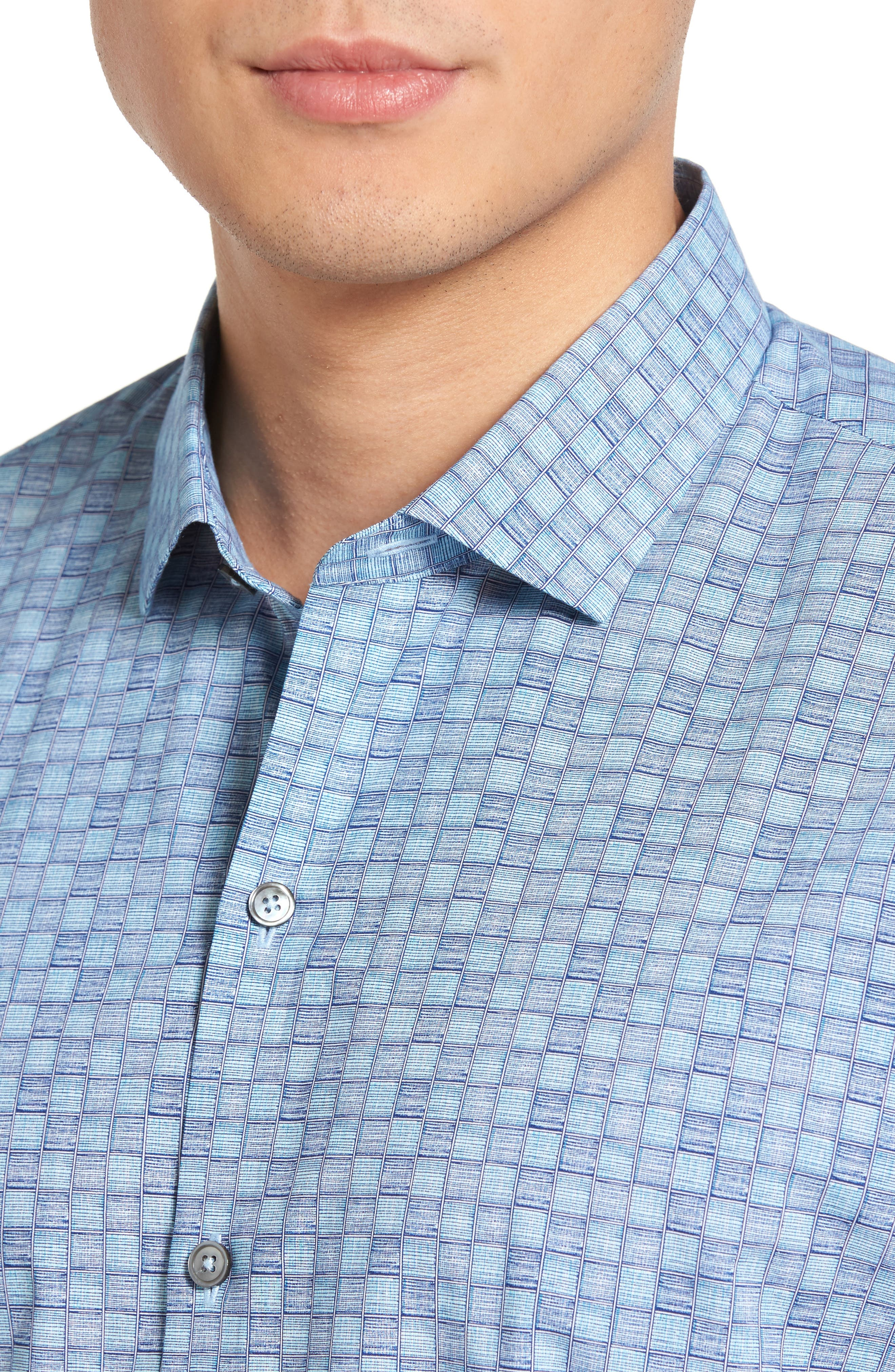 Caringella Check Sport Shirt,                             Alternate thumbnail 2, color,                             Turquoise