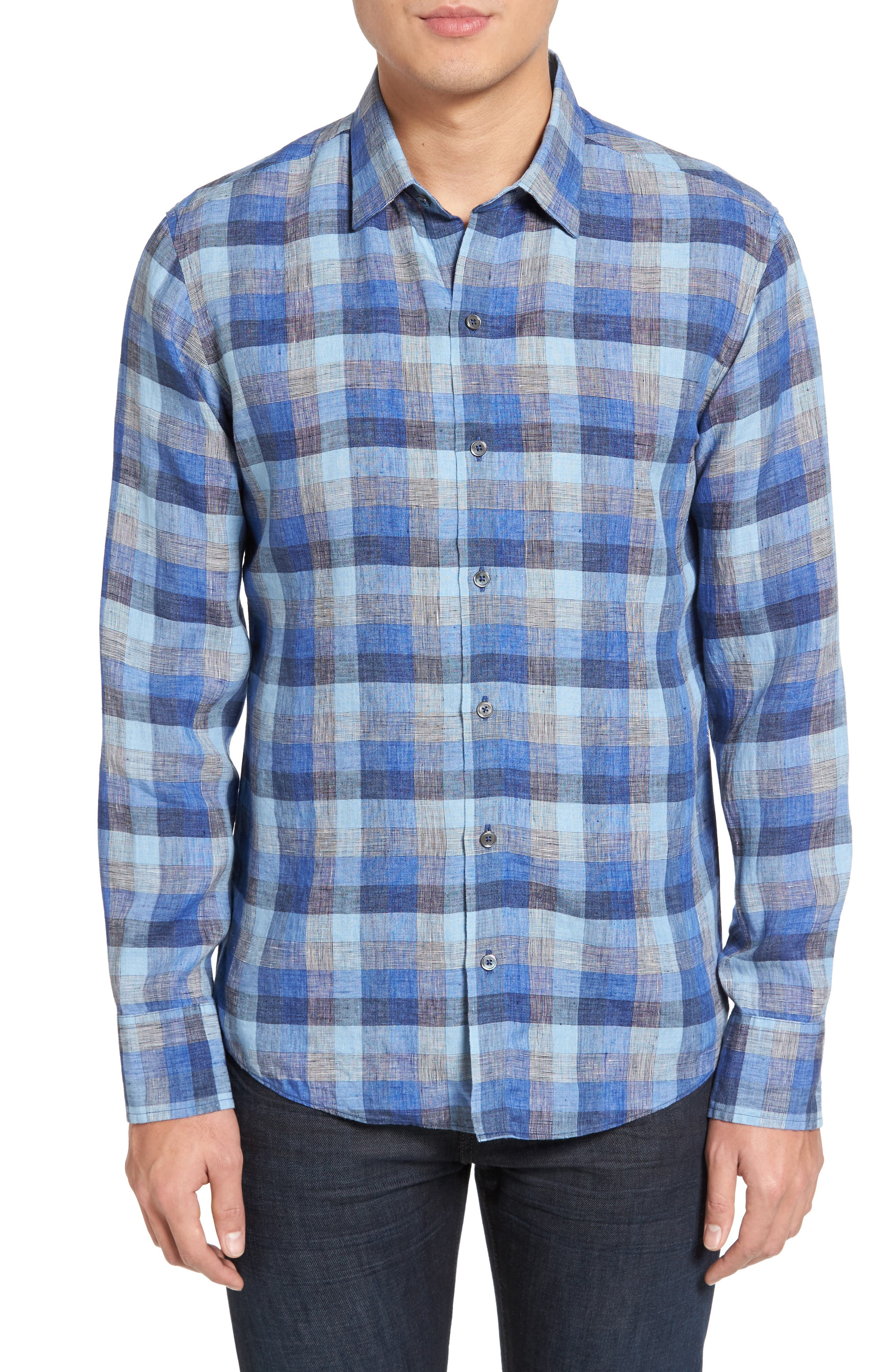 Kerner Plaid Sport Shirt,                         Main,                         color, Blue